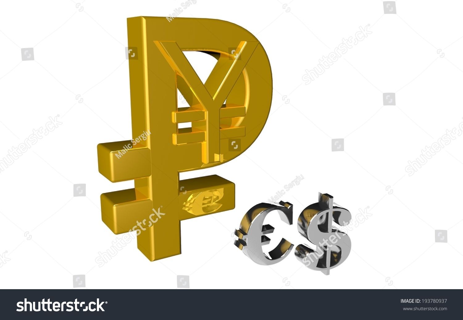 Russian Ruble Chinese Yuan Symbol Country Stock Illustration