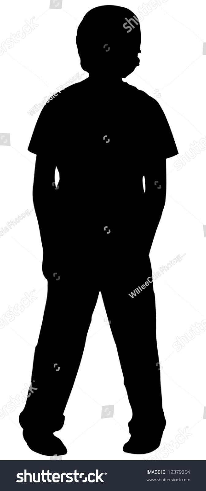 silhouette boy standing his feet pigeon stock illustration
