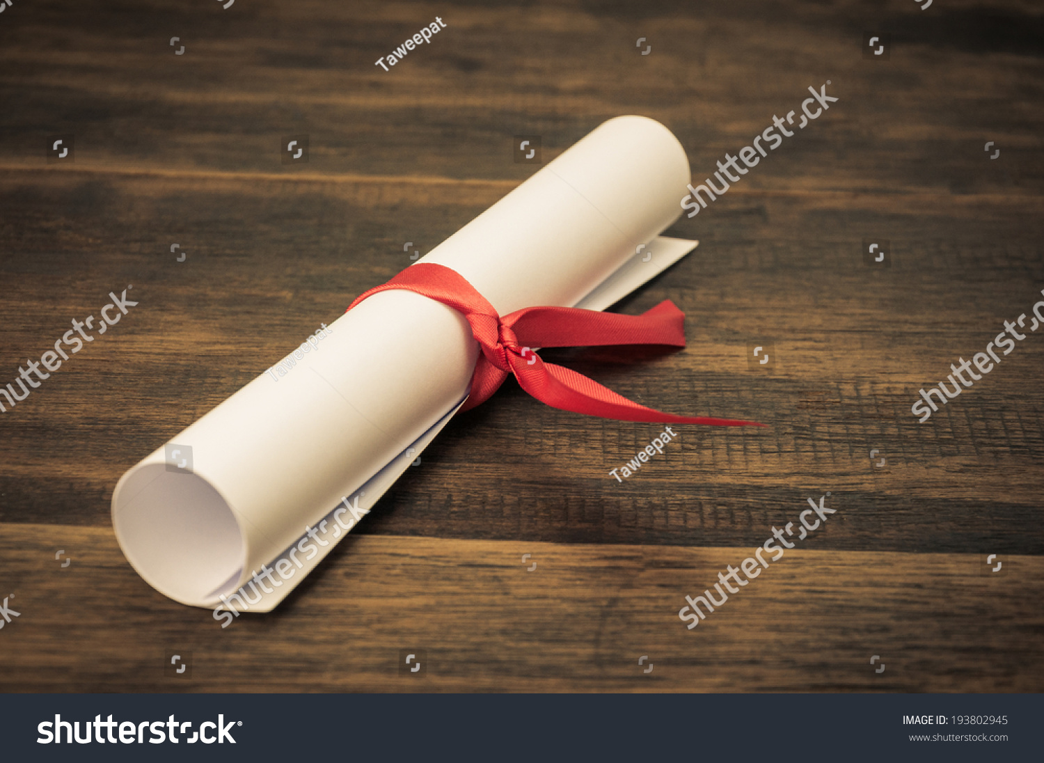 Parchment Diploma Scroll Rolled Red Ribbon Stock Photo (Edit Now