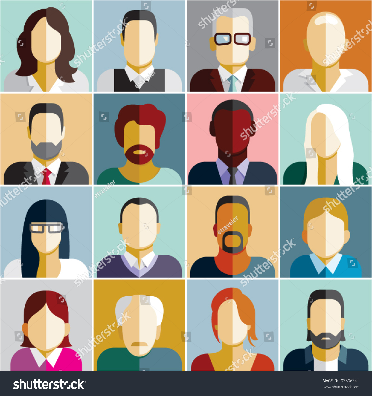 People Icons People Flat Icons Collection Stock Vector
