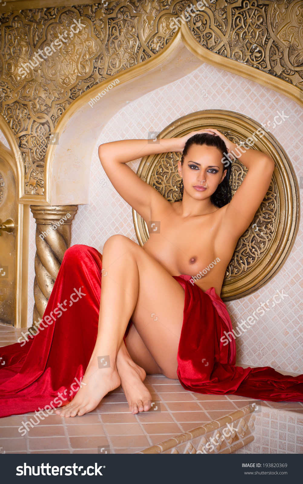 Young Naked Woman Enjoying Hamam Turkish Stock Photo -5469