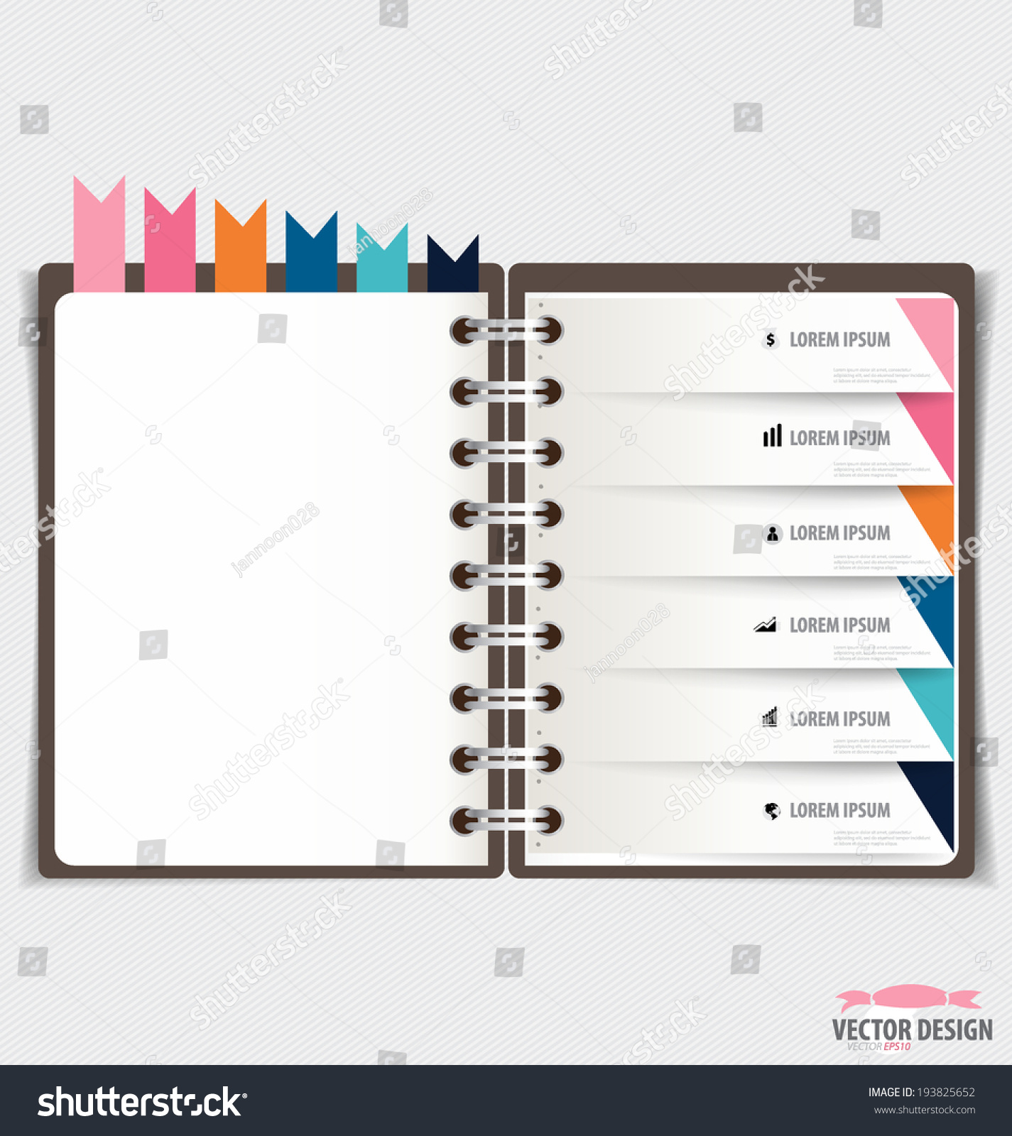 modern design template spiral notebook ribbons stock vector 193825652 shutterstock. Black Bedroom Furniture Sets. Home Design Ideas
