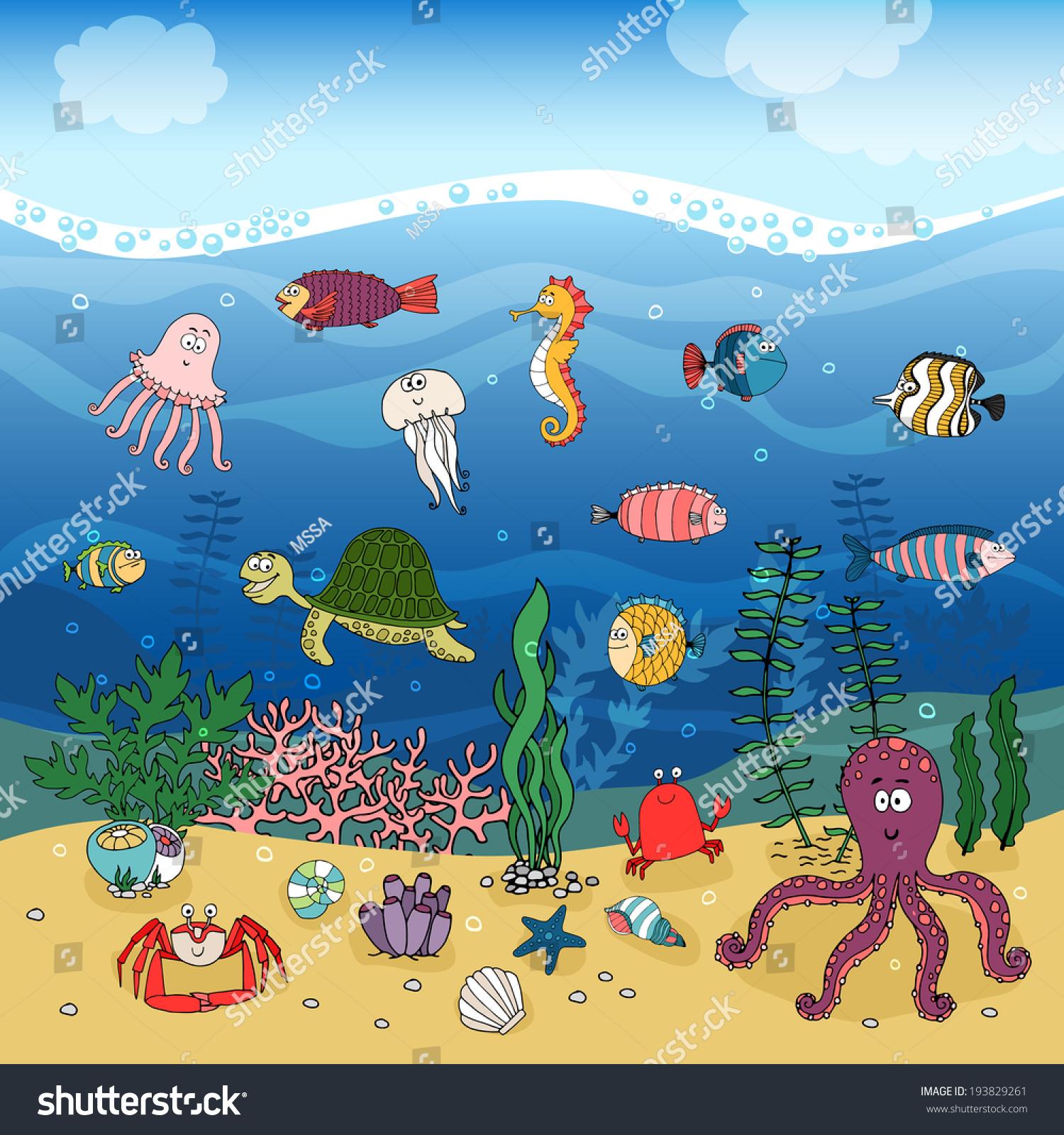 underwater ocean life handdrawn illustration under stock vector