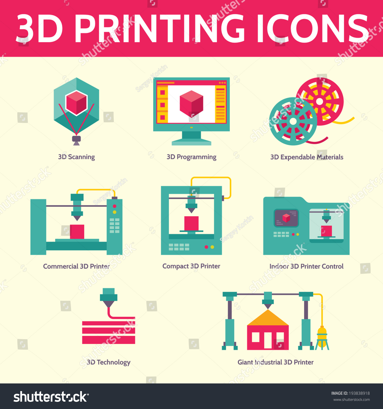 3d Printing Vector Icons Flat Design Stock Vector