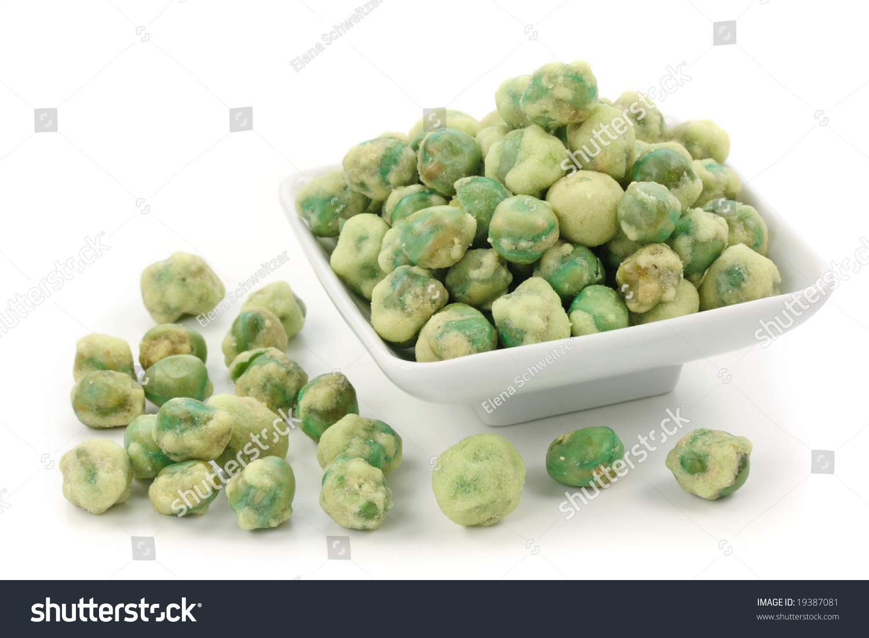 Wasabi Peas On White Plate Isolated On White Background Stock Photo 1938708 # Wasbak English_182340