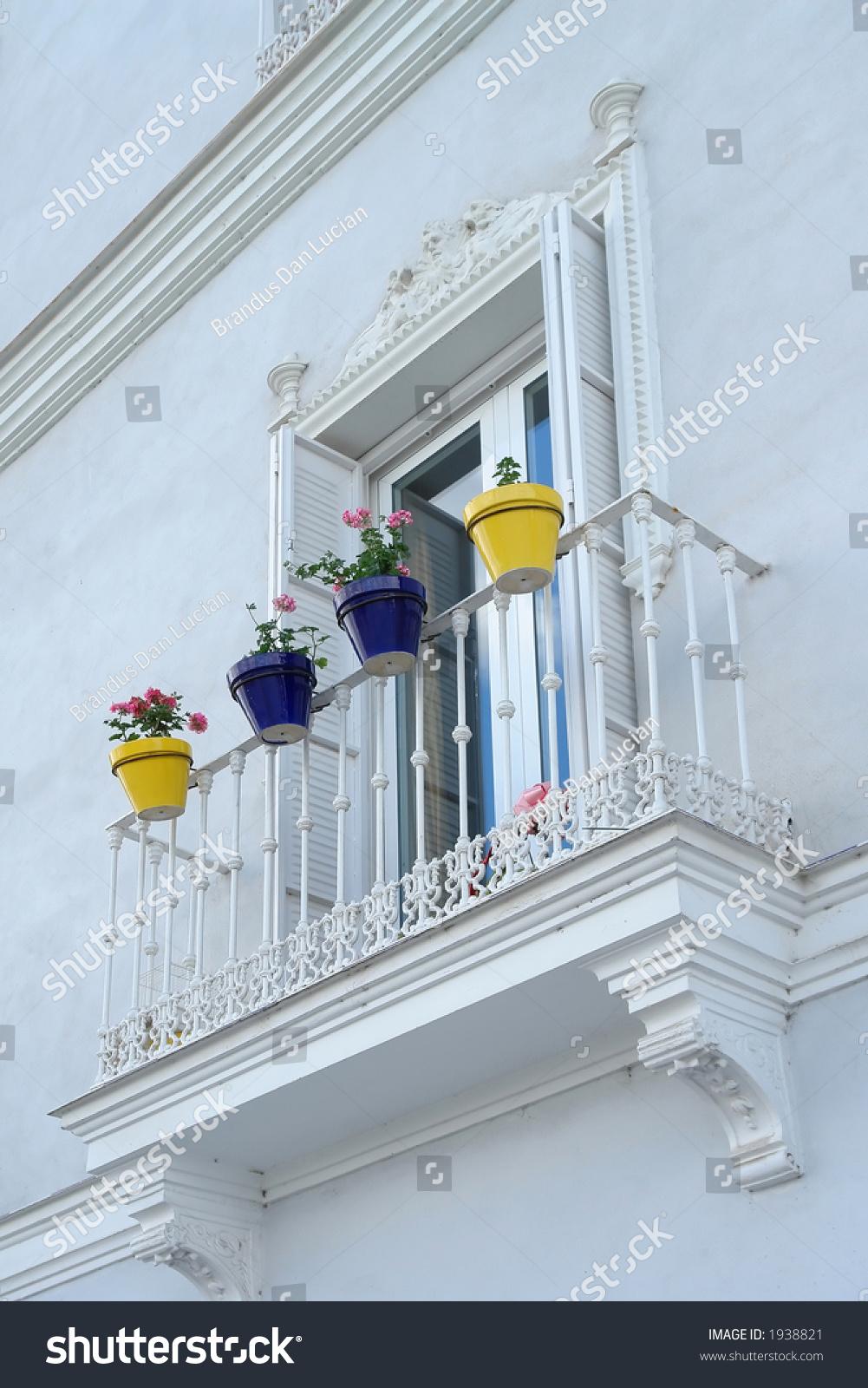 Yellow Blue Ceramic Flowerpots Sevilla Spain Stock Photo Royalty