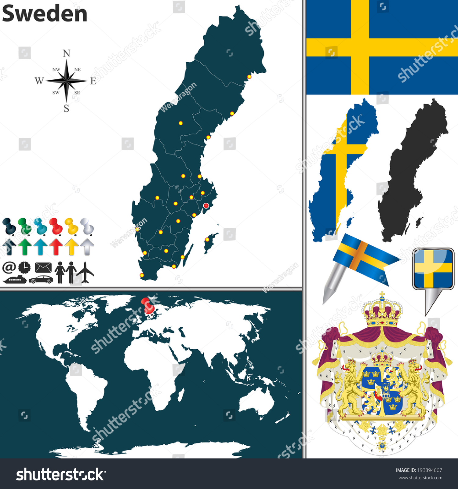 Vector Map Sweden Regions Coat Arms Stock Vector - Sweden map regions