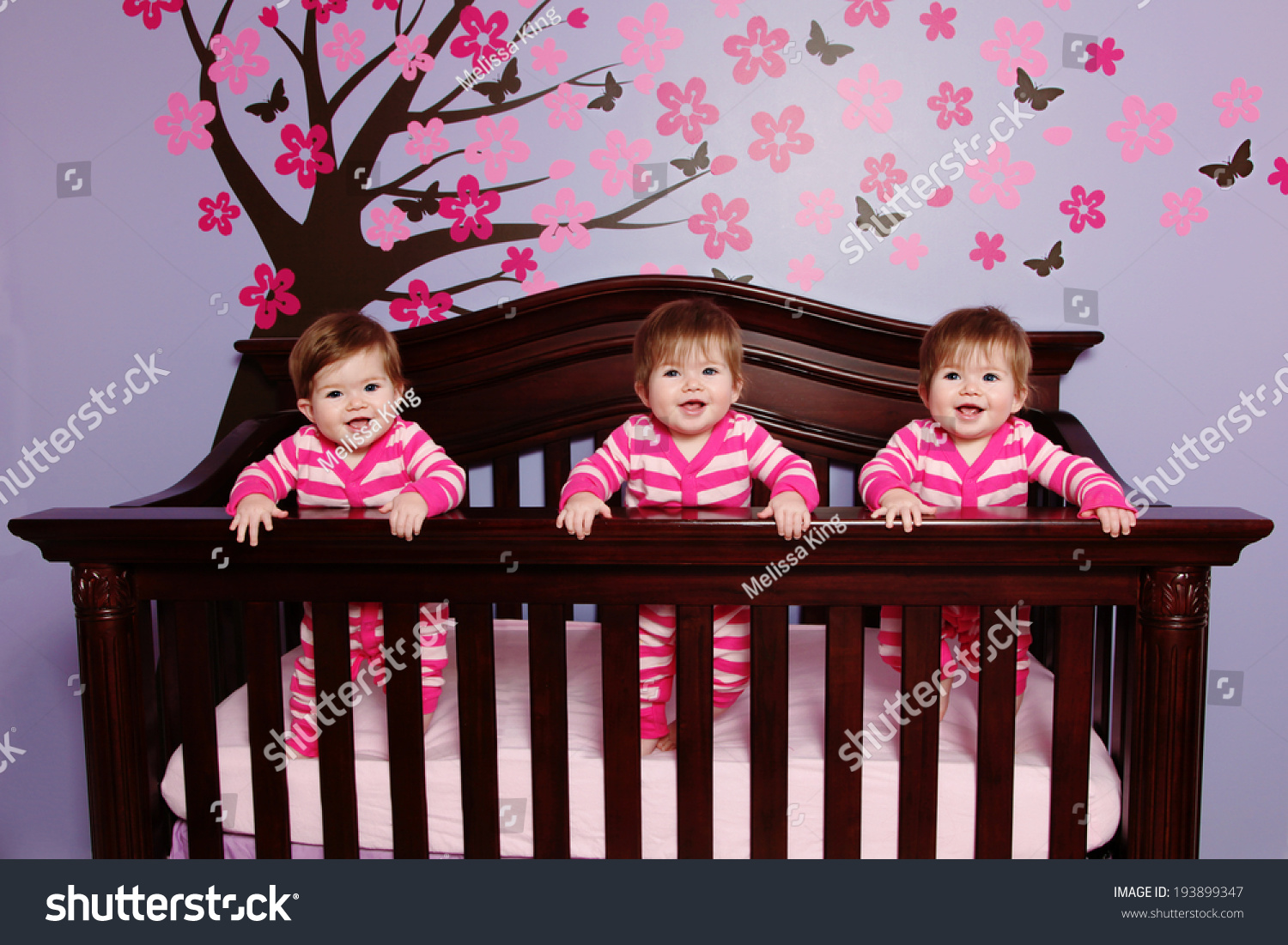 Crib for triplet babies - Sweet Baby Triplets In Crib