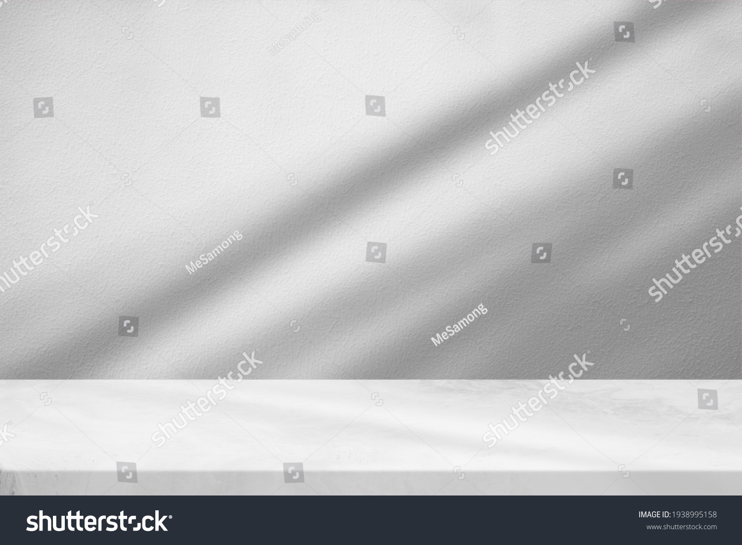 Marble Table with White Stucco Wall Texture Background with Light Beam and Shadow, Suitable for Product Presentation Backdrop, Display, and Mock up. #1938995158