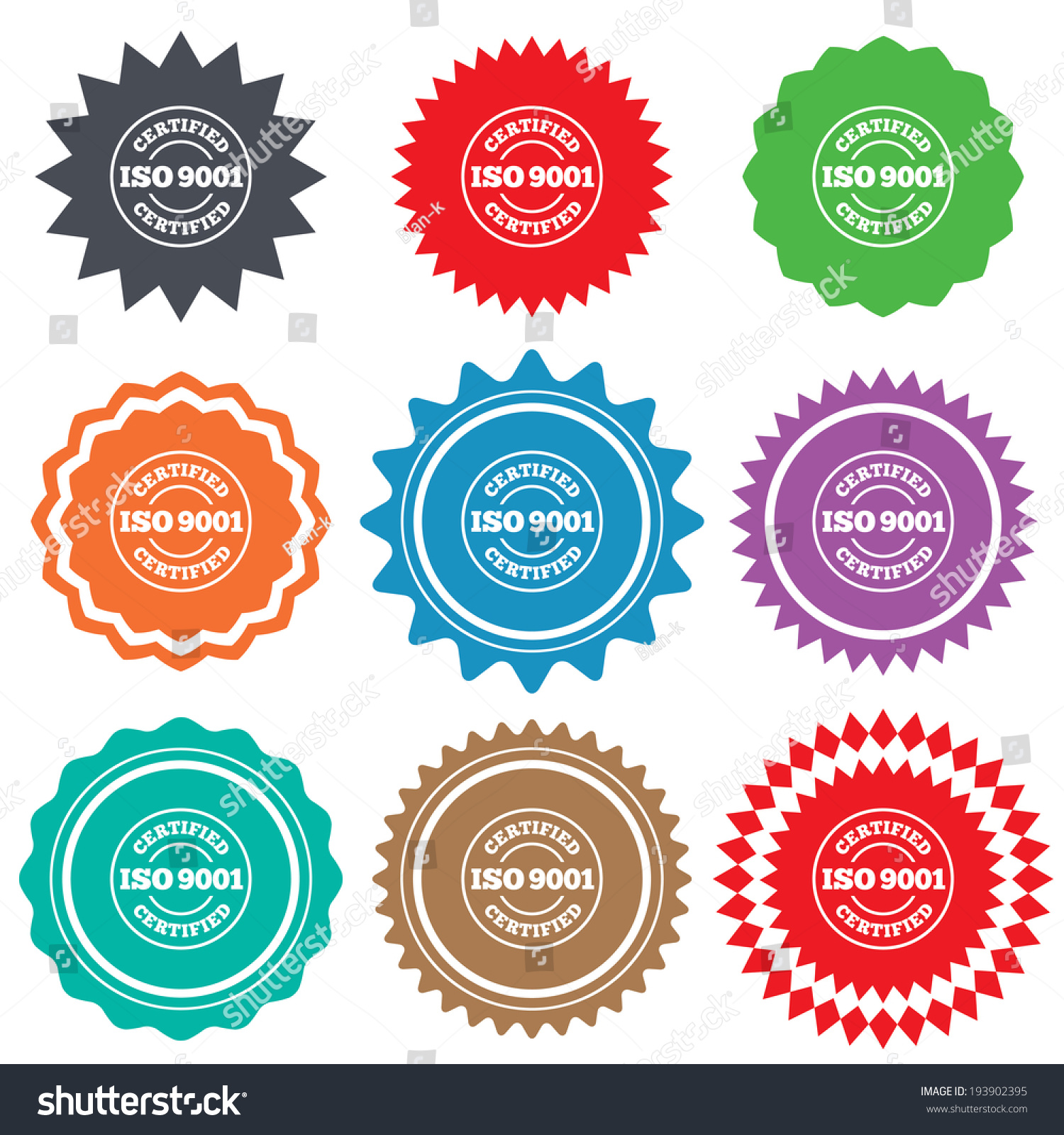 ISO 9001 Certified Sign Icon Certification Stamp Stars Stickers Certificate Emblem Labels