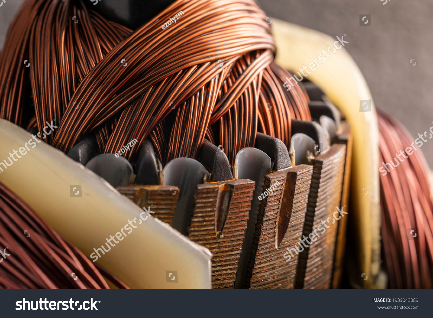 Rotor of an electric motor close up. Copper motor windings. #1939043089