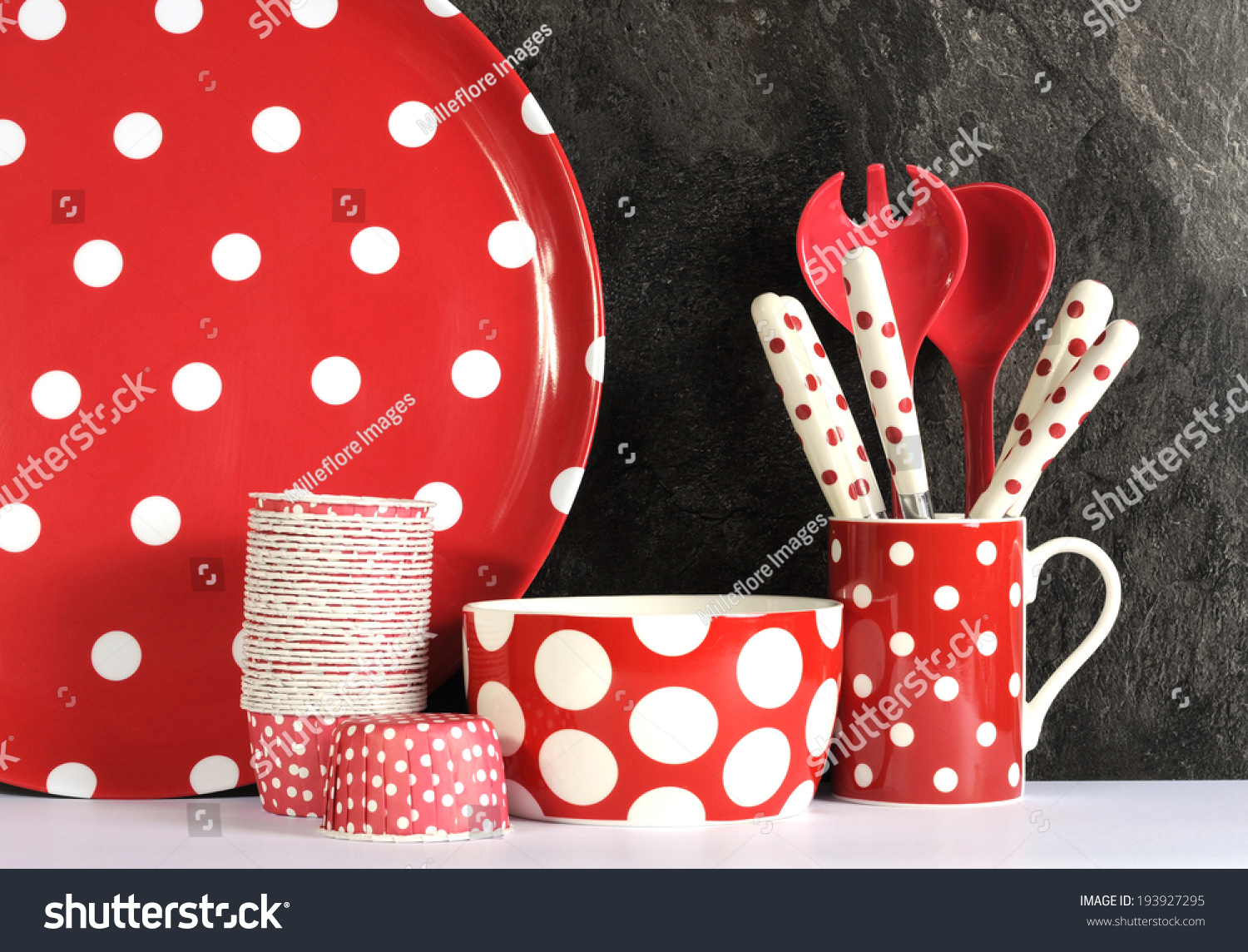 modern red and white polka dot kitchen setting stock photo