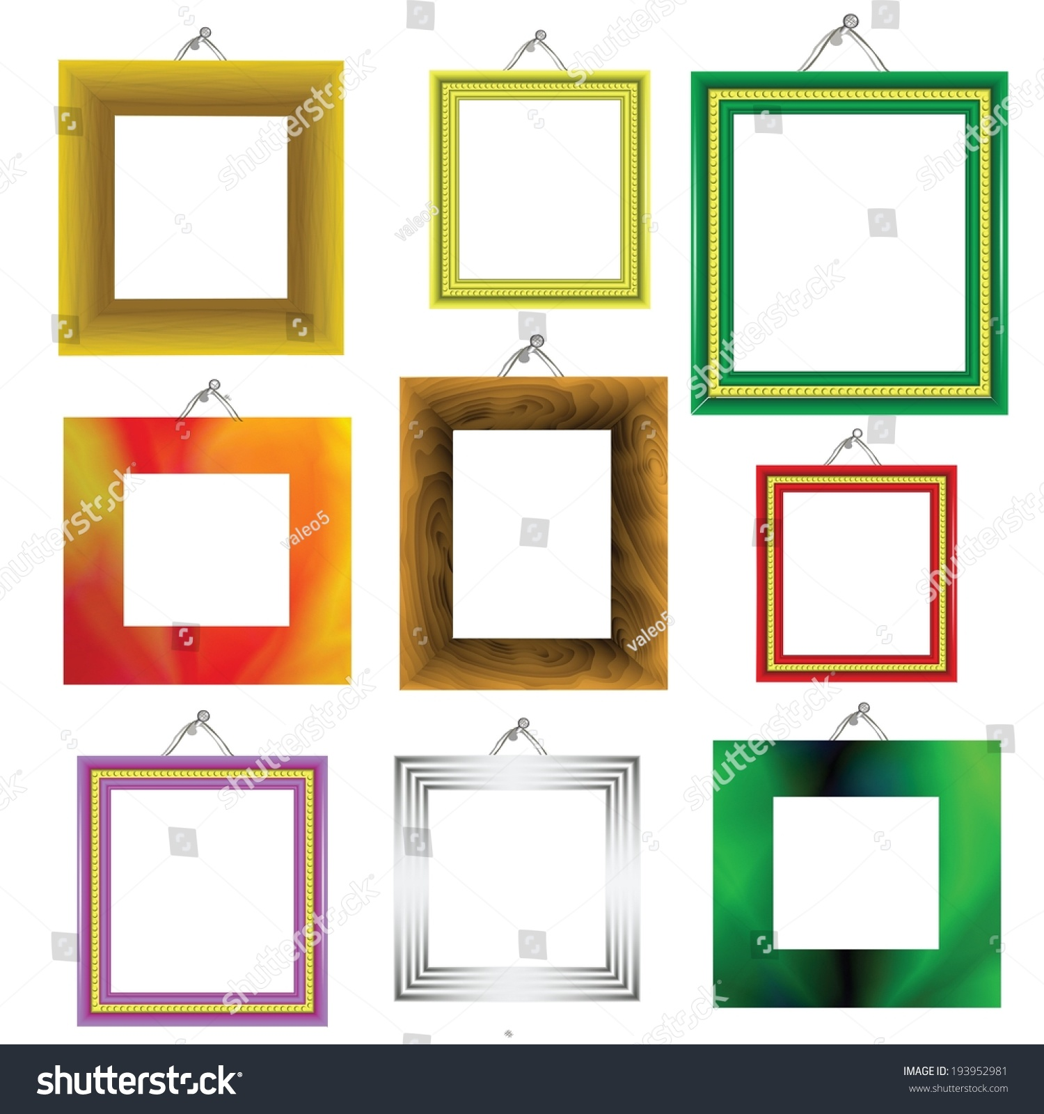 Vector Illustration Different Frames On White Stock Vector (Royalty ...