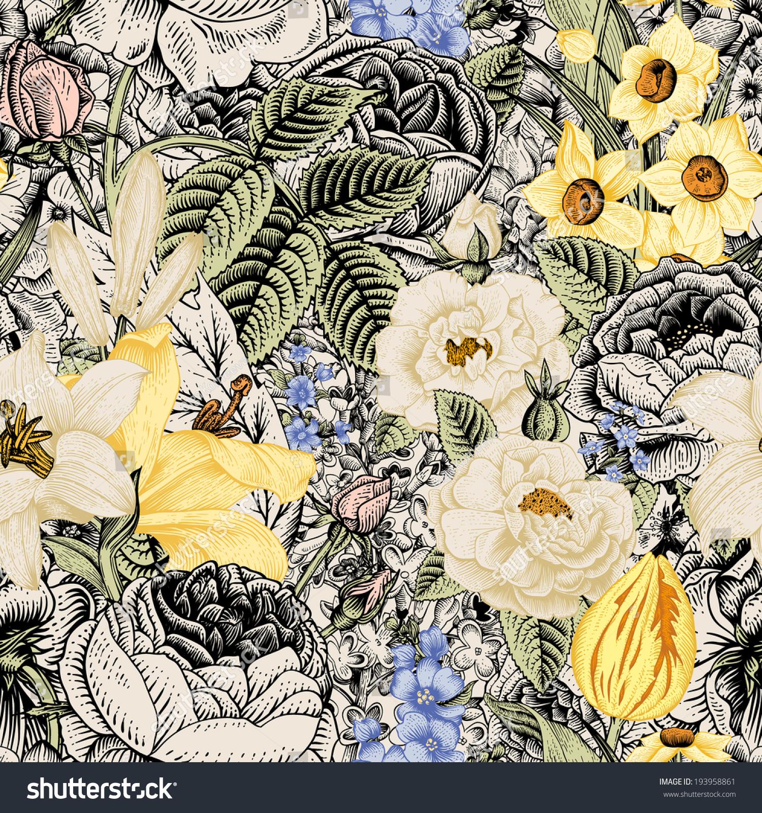 Summer Seamless Floral Pattern Vintage Flowers Stock Image