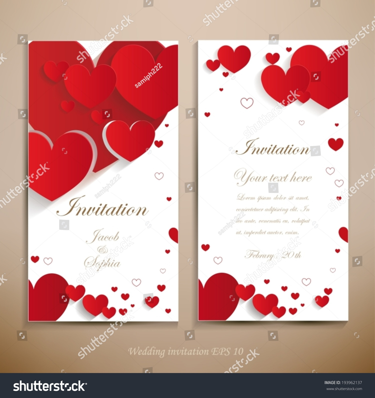 Lovely Wedding Invitation Beautiful Wedding Invitation Stock Vector ...