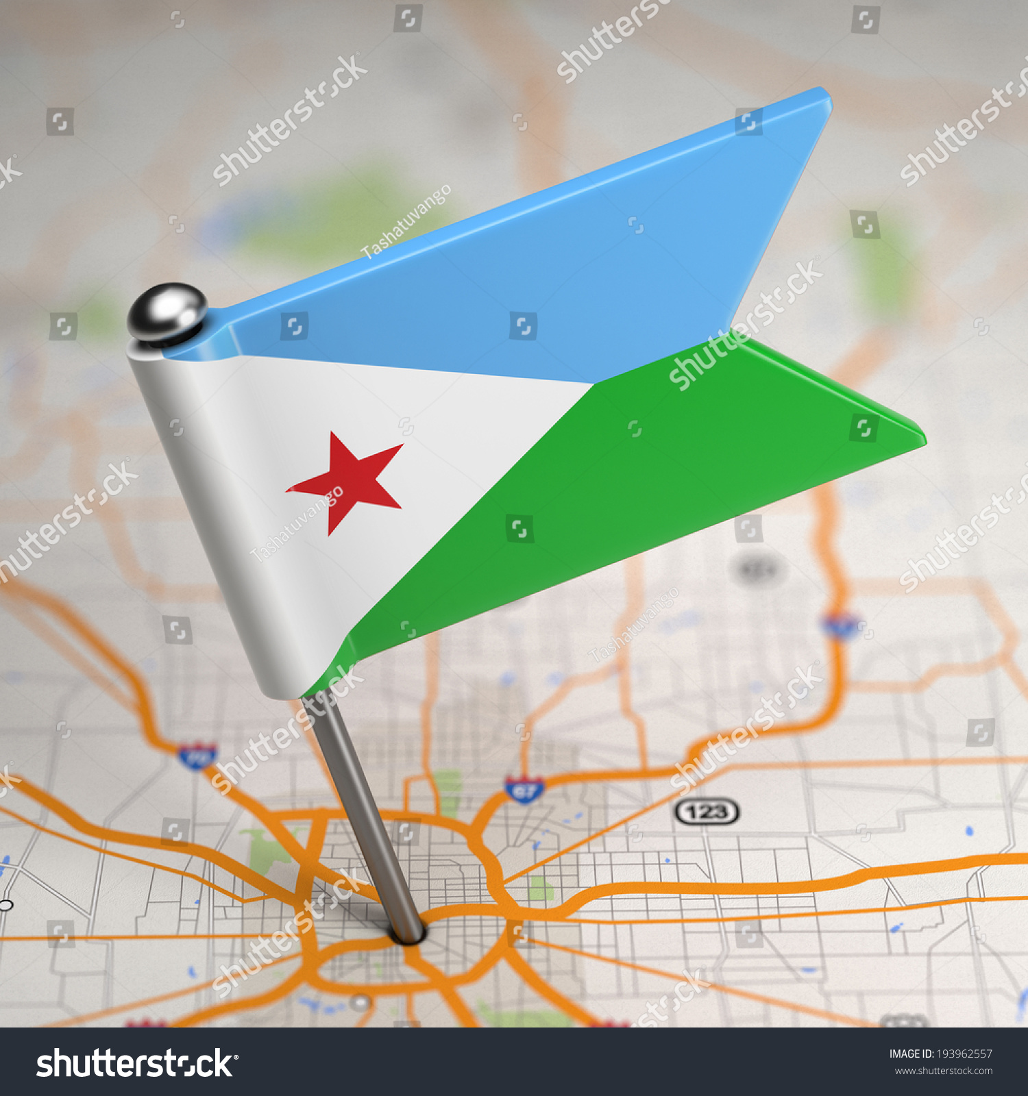 Small Flag Republic Djibouti On Map Stock Illustration - Republic of djibouti map