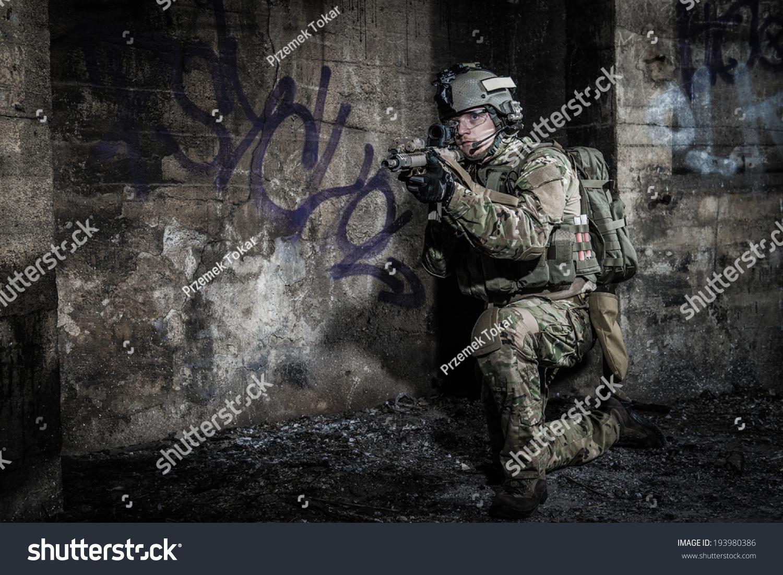 Urban Area At Night Us Soldier Nigh...