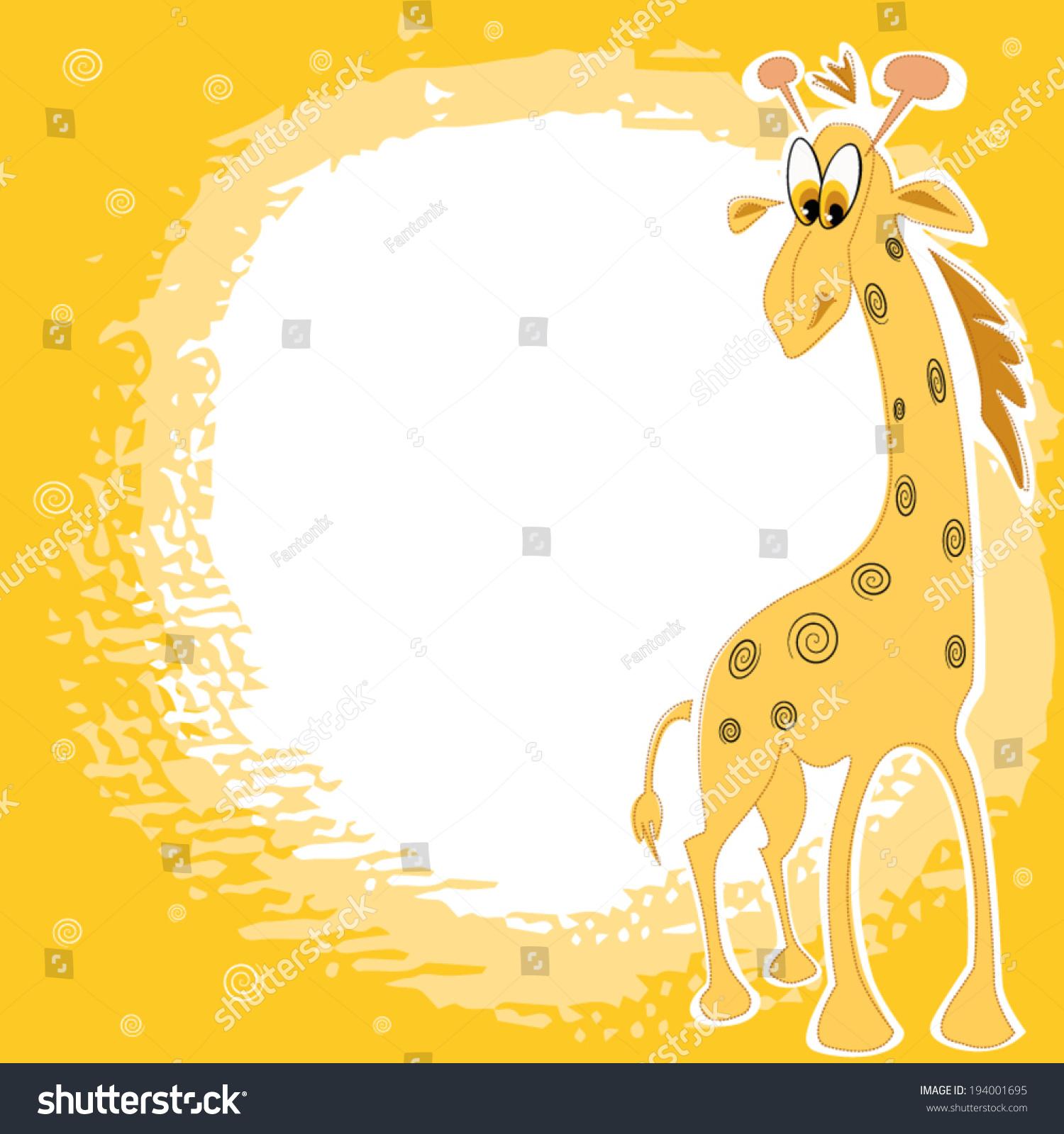 Vector Card Design Cute Giraffe On Stock Vector 194001695 ...