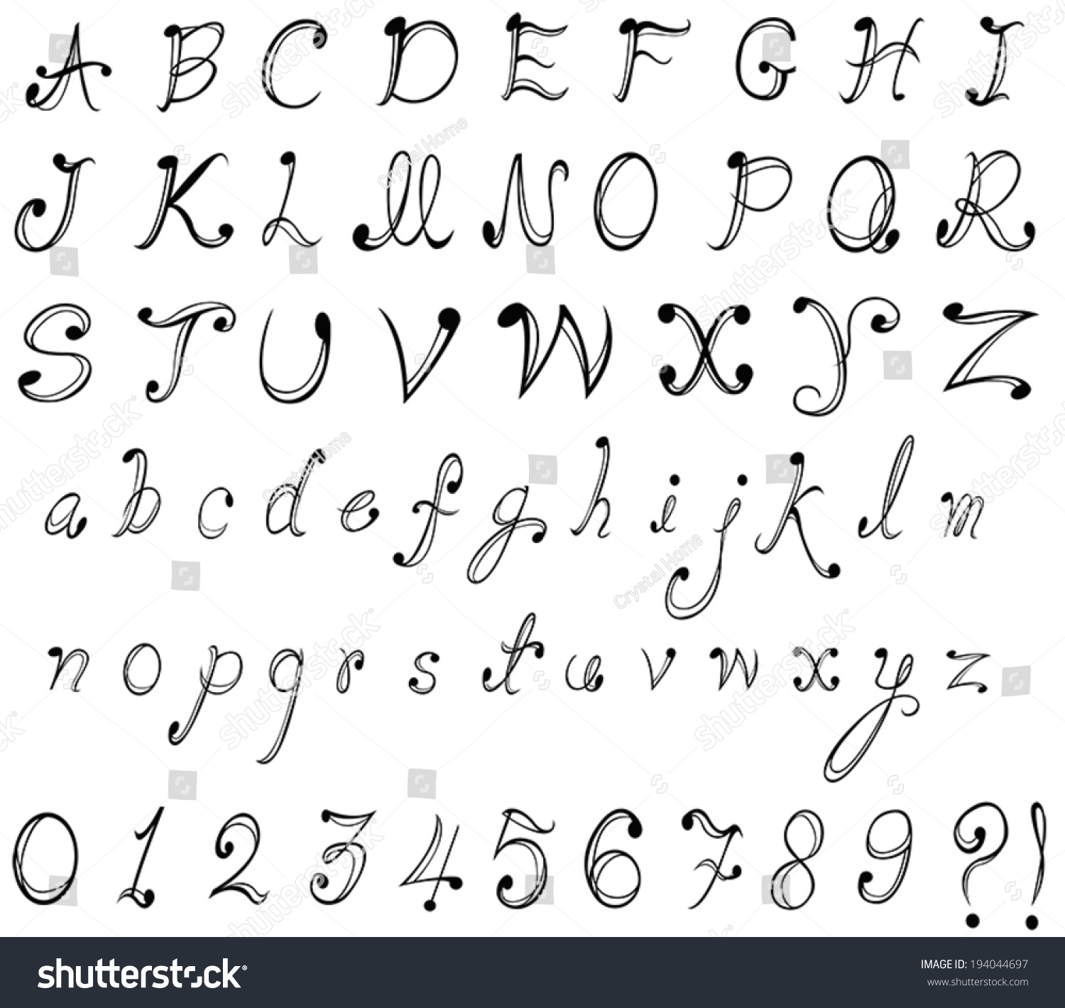 Graphical Font And Numerical Numbers In Stylish Typography Calligraphy Design Create By Vector