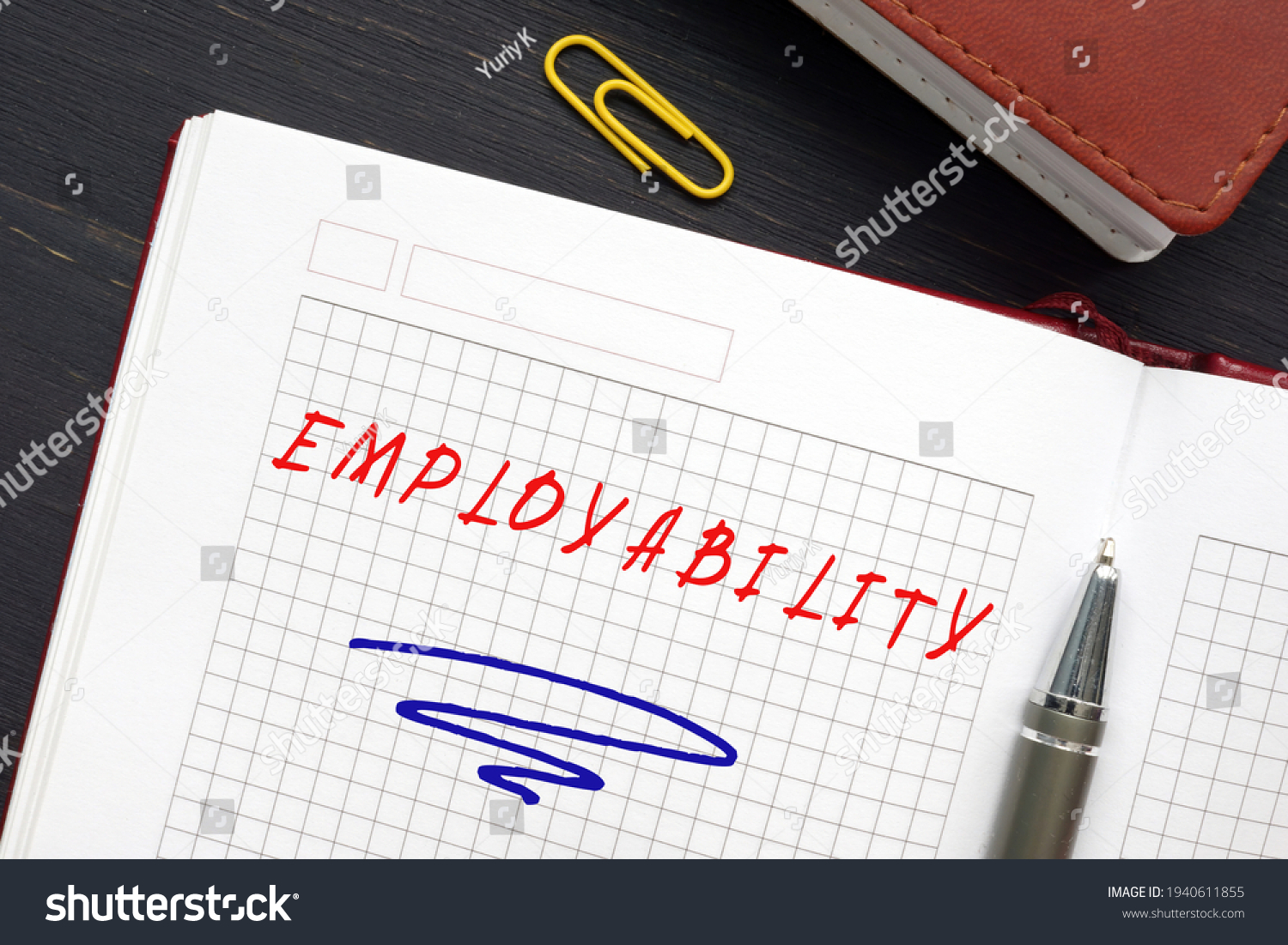Conceptual photo about EMPLOYABILITY with handwritten text. Employabilityrefers to your ability to gain initial employment, maintain. employment, and obtain new employment if required #1940611855