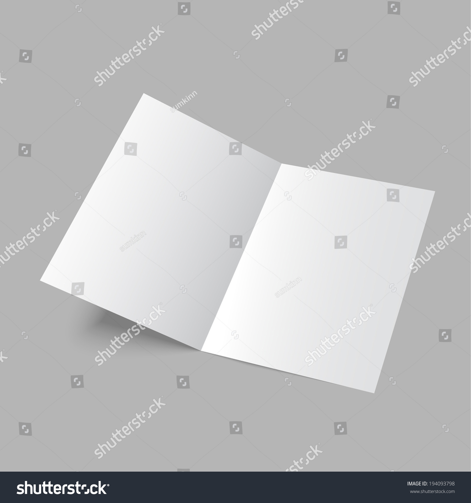 two fold brochure design - lying blank two fold paper brochure on gray background