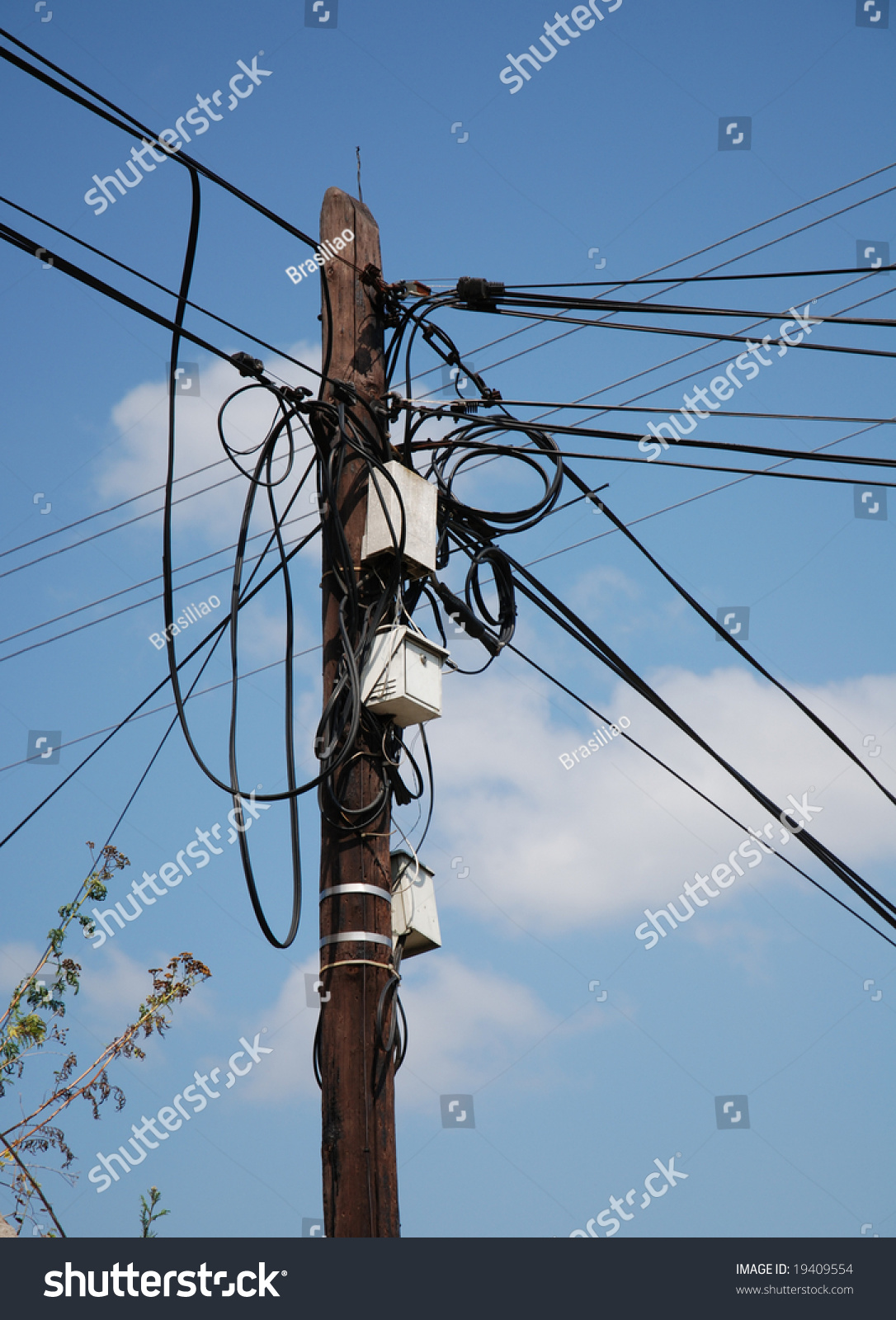 An Old Electric Pole With Cables And Wires Symbol Of Communication Electrical Wiring Internet Ez Canvas