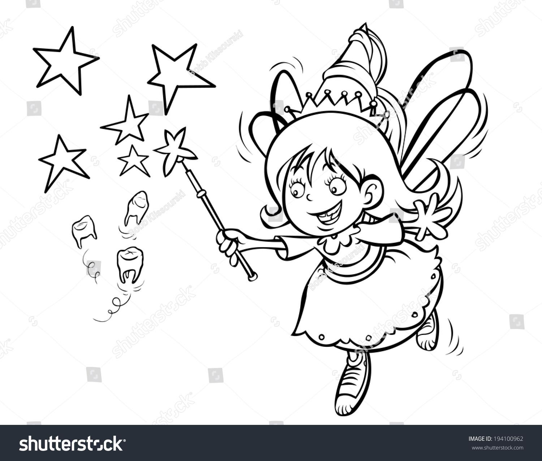 Cute Tooth Fairy Cartoon Outline Version Ez Canvas