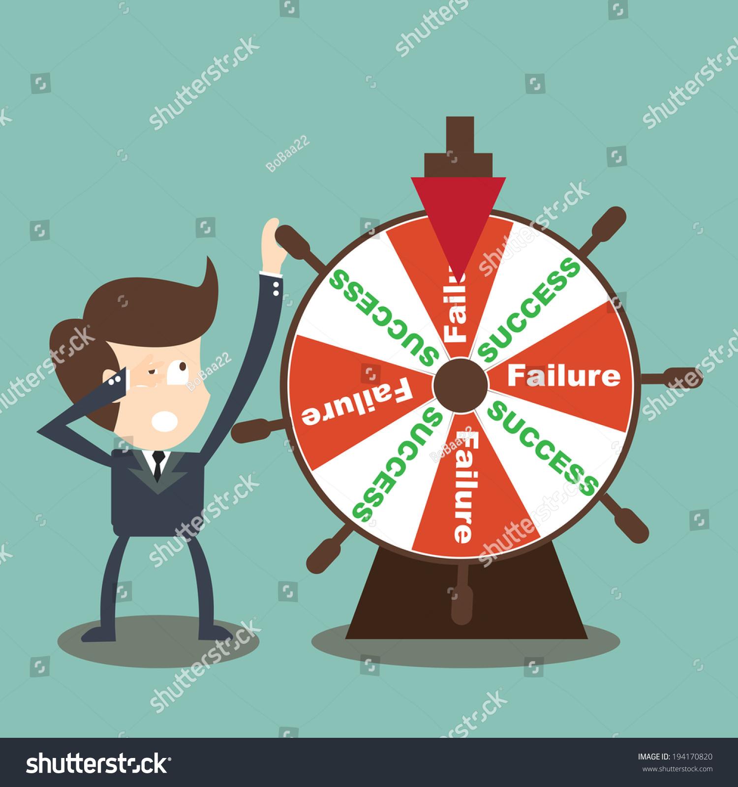 businessman rotate success failure wheel fortune のベクター画像素材