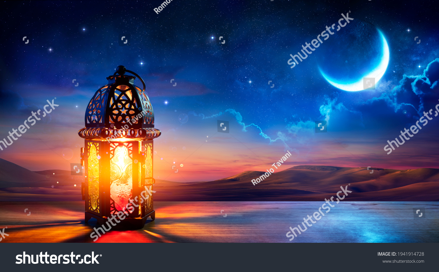Muslim Holy Month Ramadan Kareem - Ornamental Arabic Lantern With Burning Candle Glowing At Evening #1941914728
