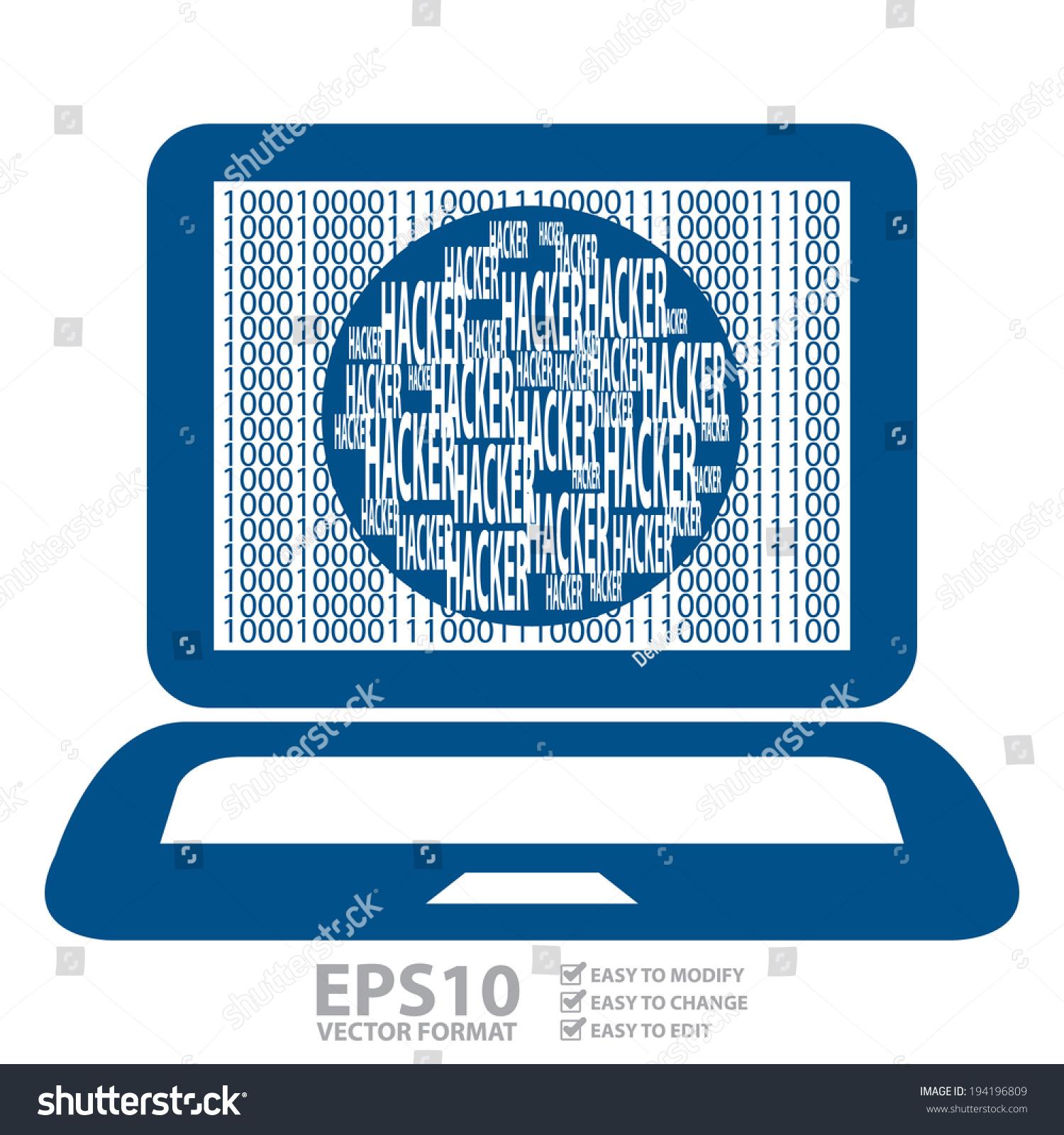 Vector Blue Computer Notebook Laptop Binary Stock Vector (Royalty ...
