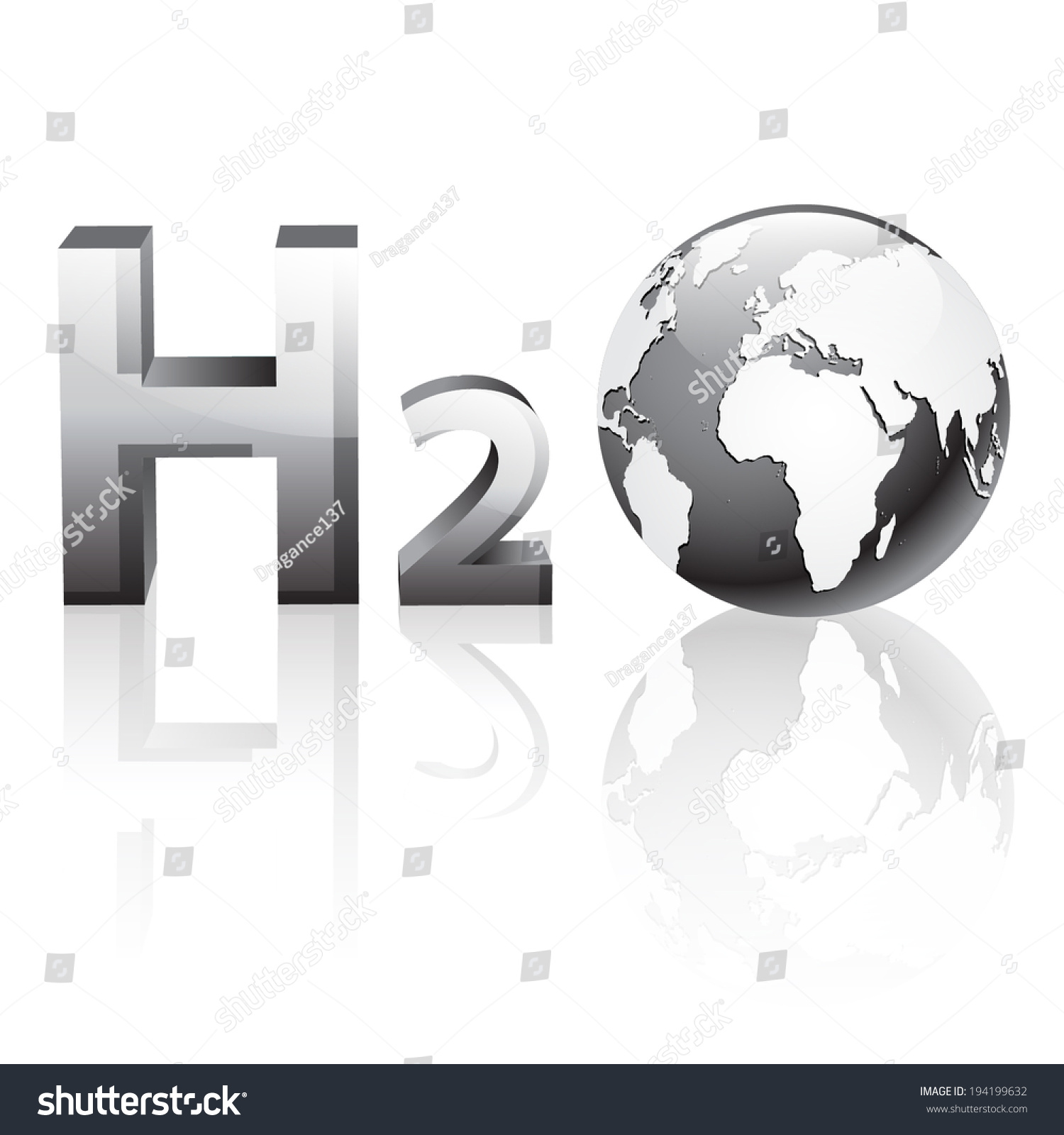 Grey chemical symbol h2o 3d globe stock vector 194199632 shutterstock buycottarizona Choice Image