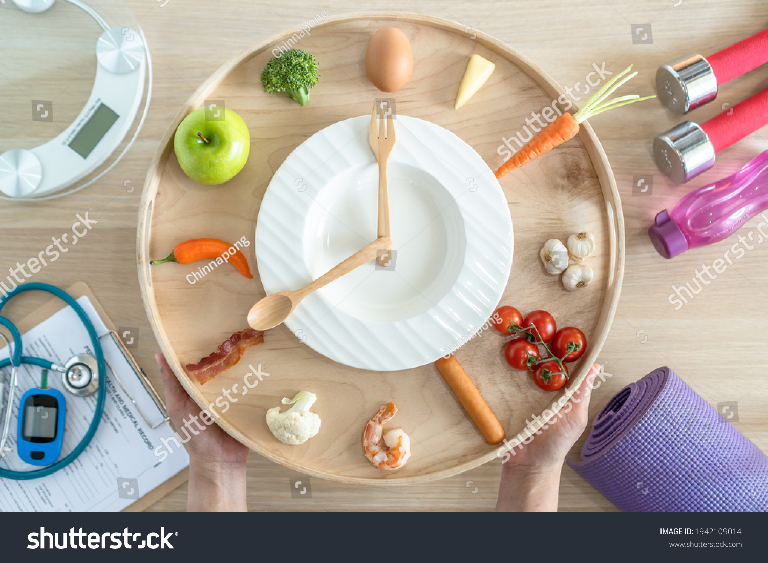 Intermittent fasting IF diet concept with 16:8 hour clock timer for skipping meal and eating keto low carb, high fat food meal healthy nutritional dish with gym exercise for body weight loss #1942109014