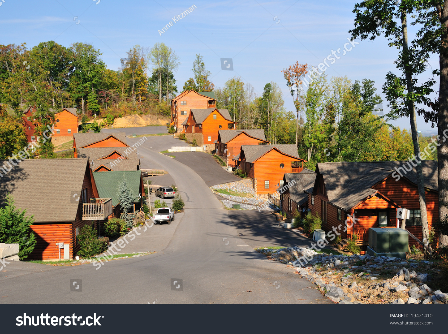 Vacation rental cabins in the mountains above pigeon forge in tennessee usa in fall