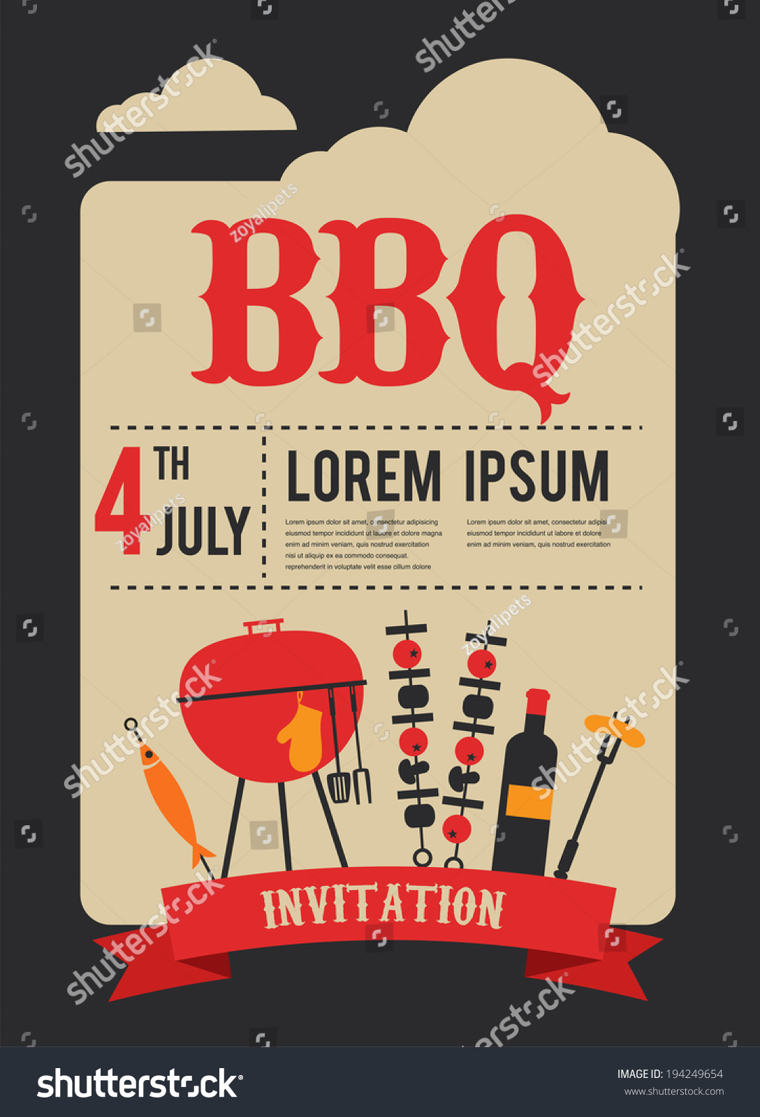 4th July BBQ Party Invitation Stock Vector (Royalty Free) 194249654 ...