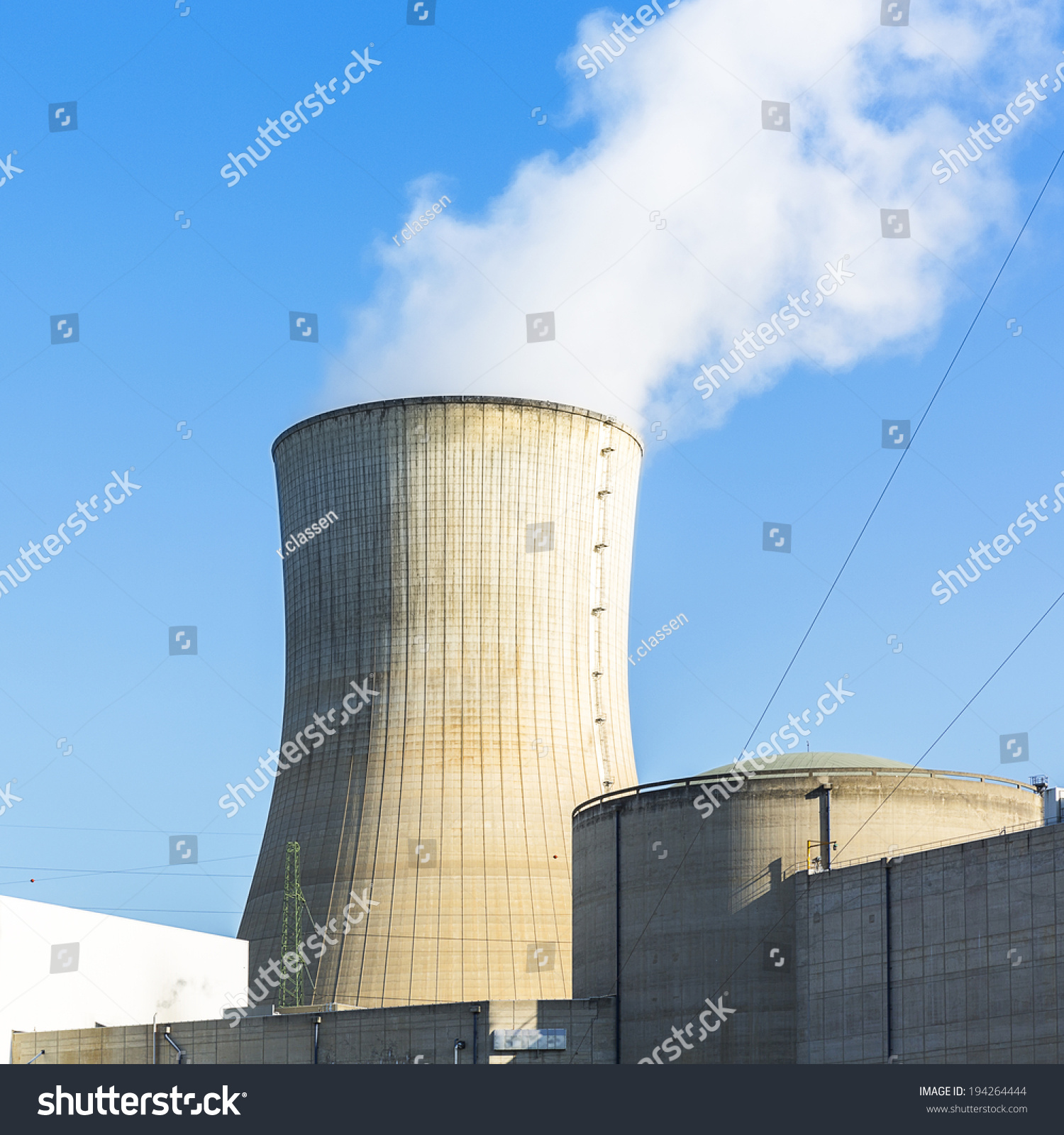 Nuclear Power Plant Cooling Tower Tihange Stock