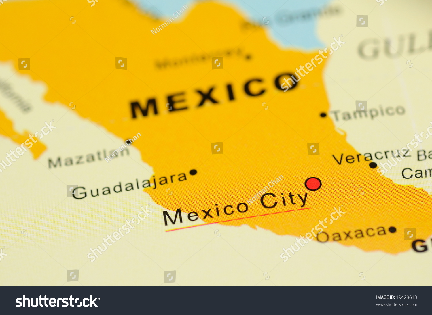 Close Mexico City Mexico On Map Stock Photo Royalty Free 19428613