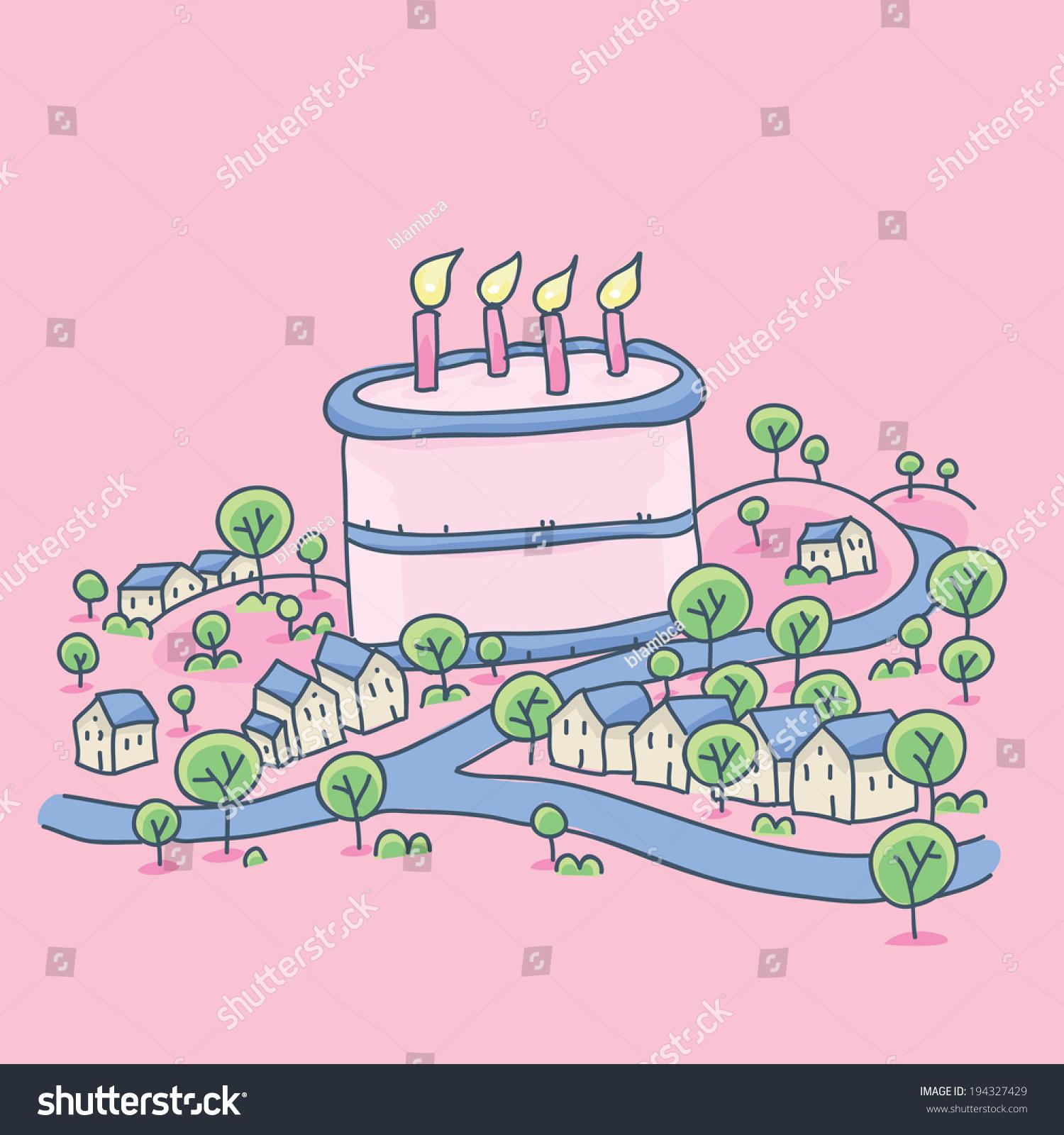 Small Cartoon Town Giant Birthday Cake Stock Vector 194327429