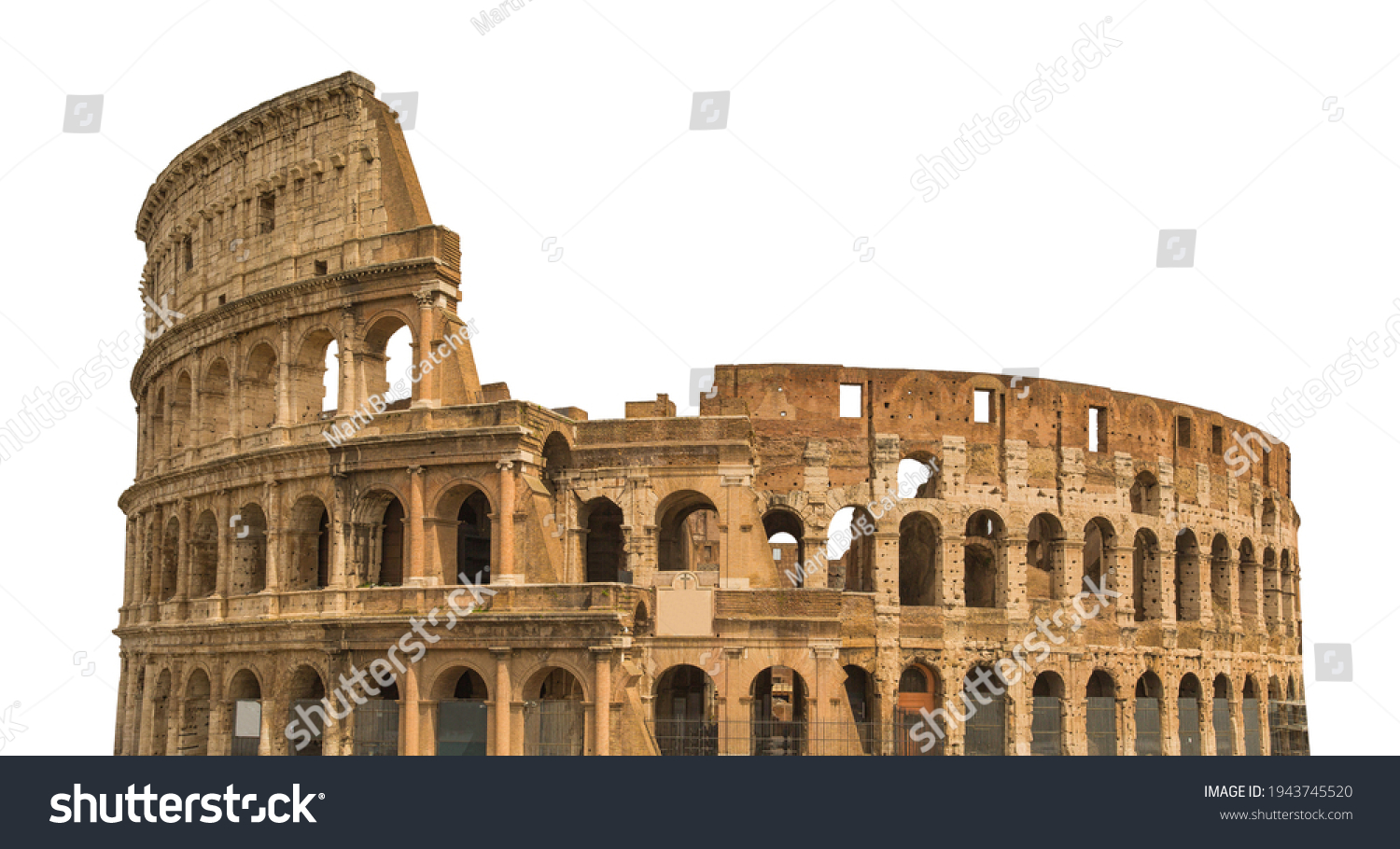 Colosseum, or Coliseum, isolated on white background. Symbol of Rome and Italy #1943745520