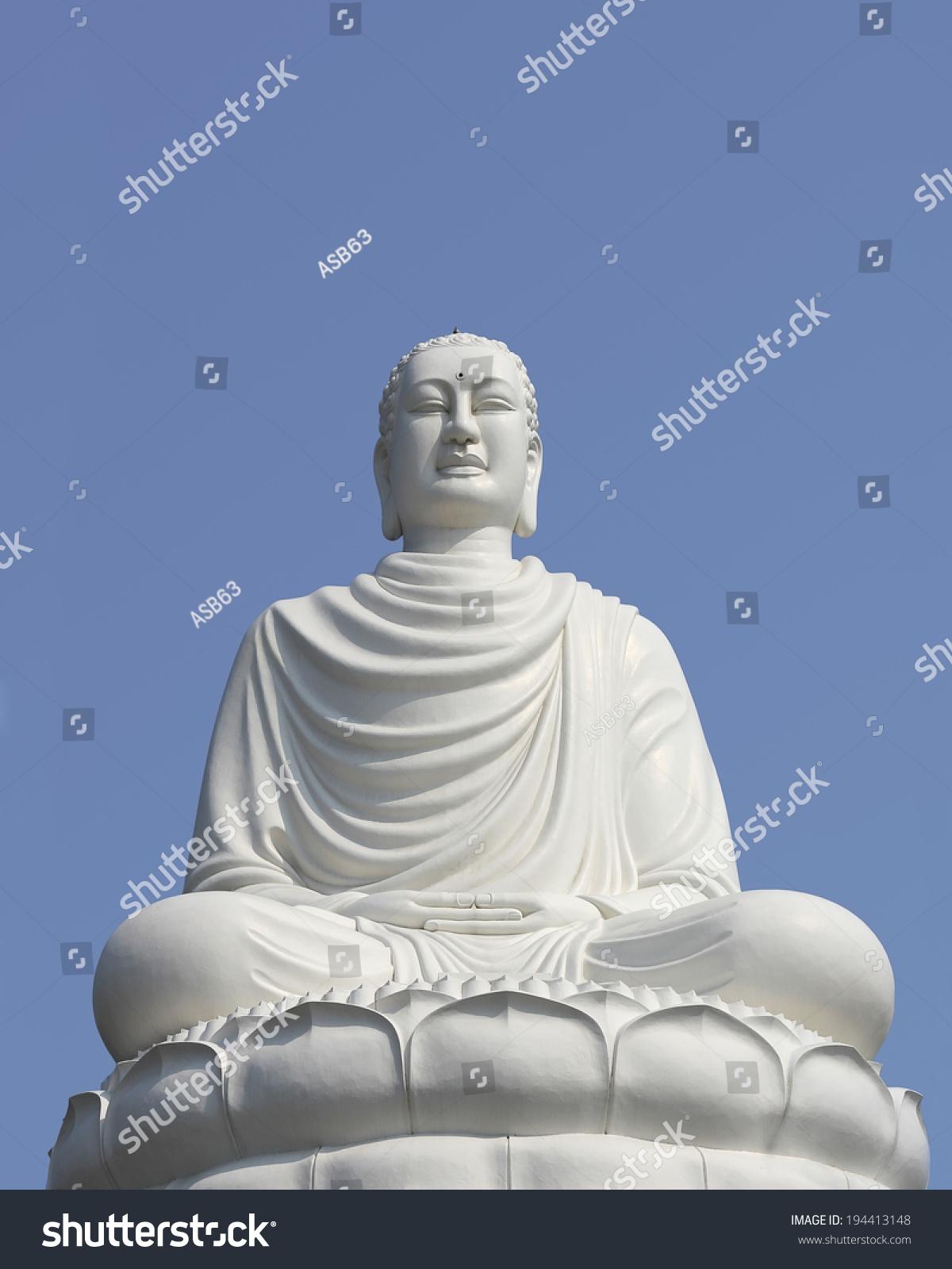 White Buddha Statue Sitting Lotus Flower Stock Photo Edit Now