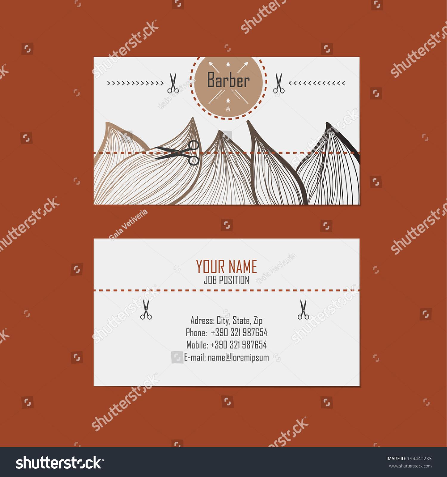 Alternative Design Business Cards Hairdresser Barber Stock Vector