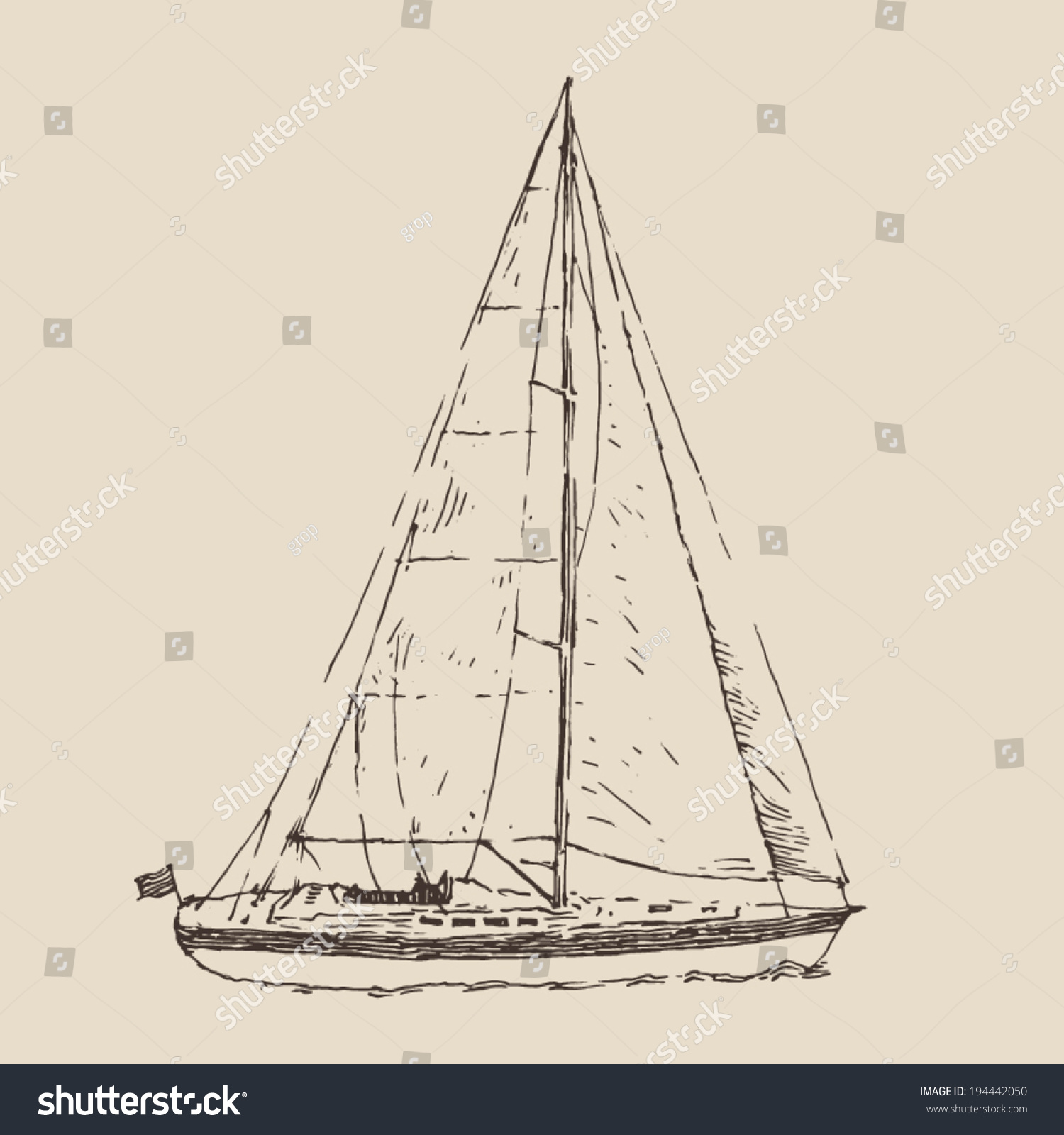 Vintage Sailboat Sketch Sailing Ship, (...
