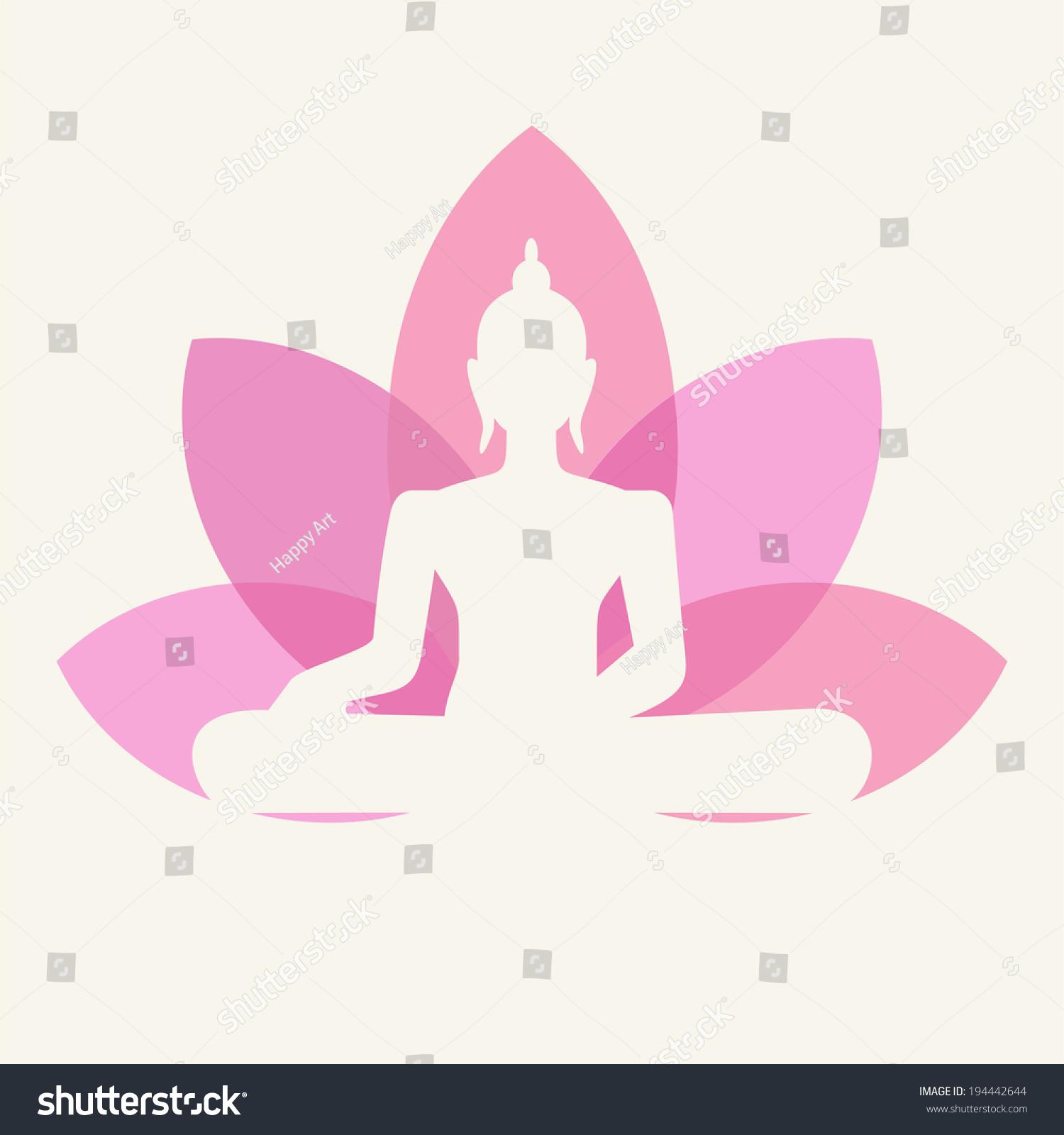 Silhouette of buddha sitting on a lotus flower background ez canvas id 194442644 izmirmasajfo