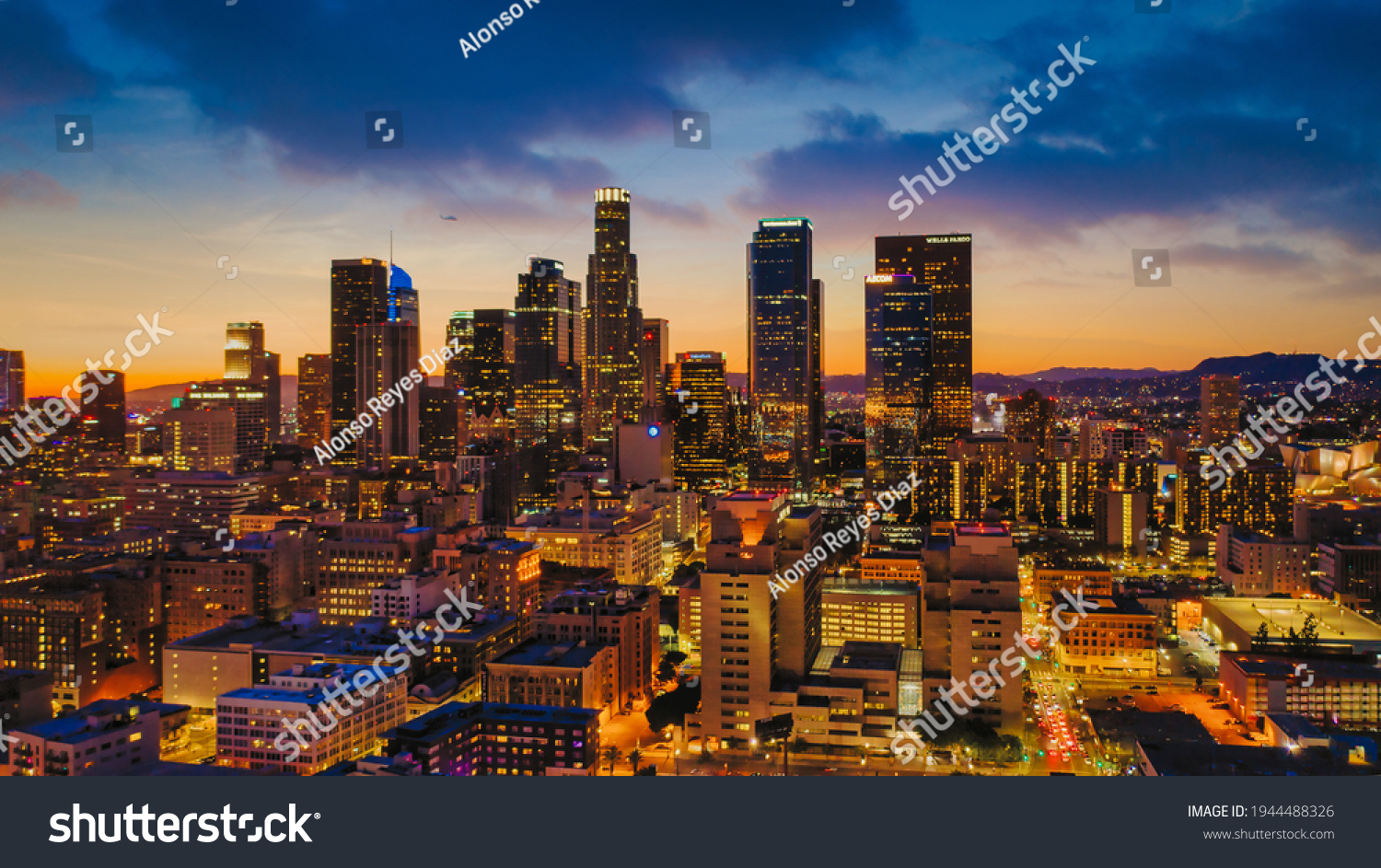 Los Angeles drone view of downtown skyline #1944488326