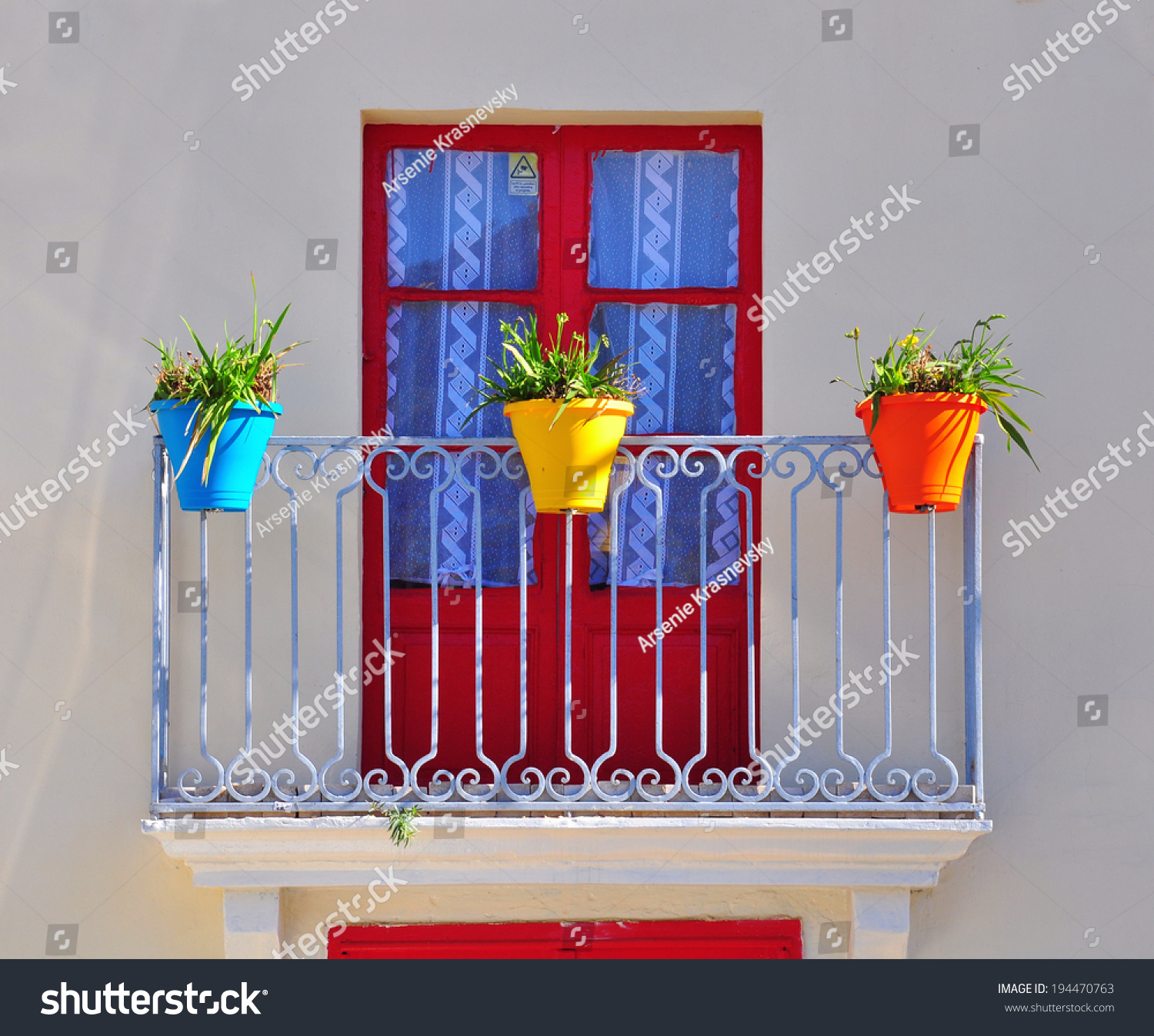 Colorful Balcony Flower Pots European House Stock Photo (Royalty ...