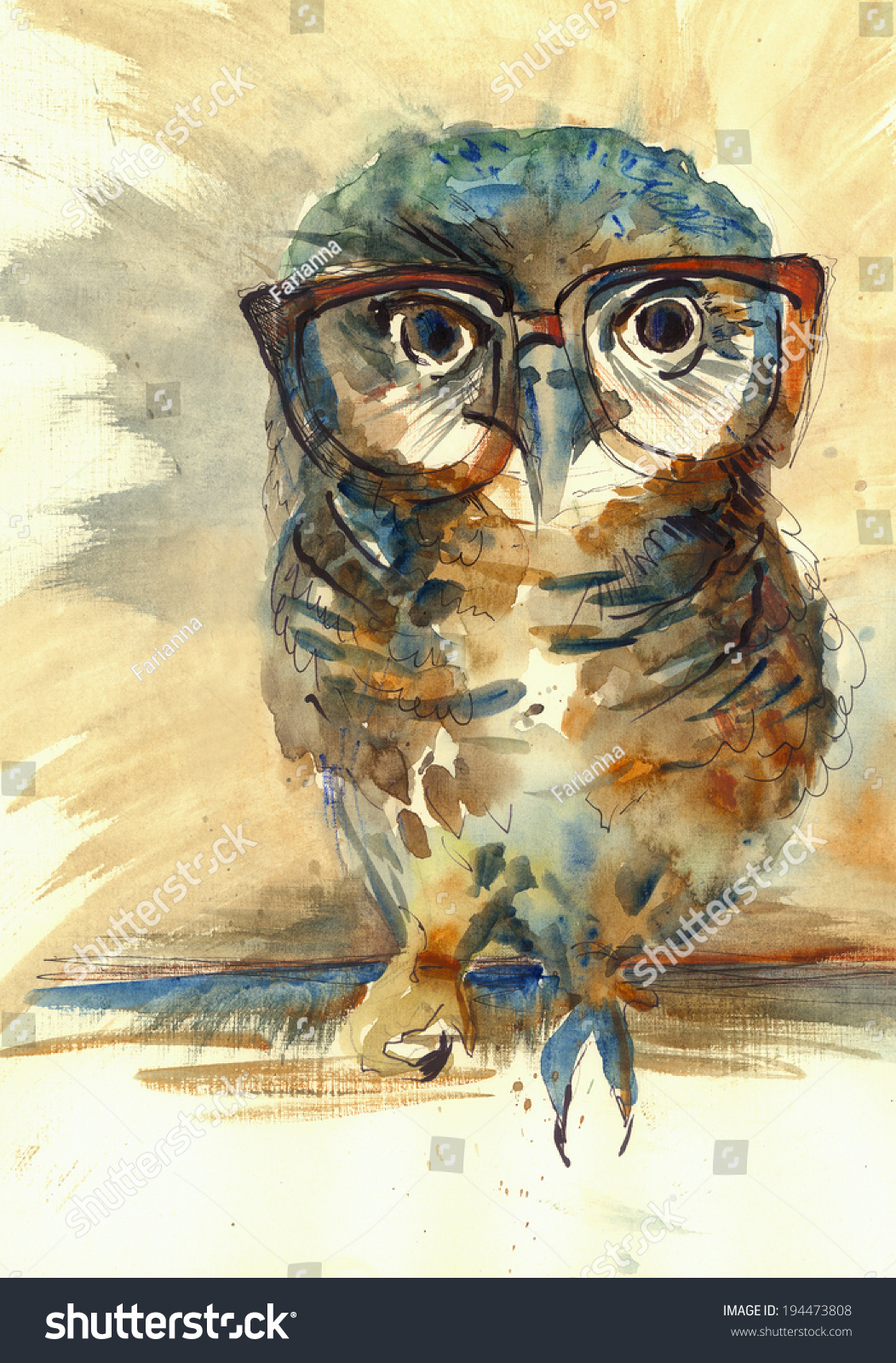 Painting Owl Eyes Image