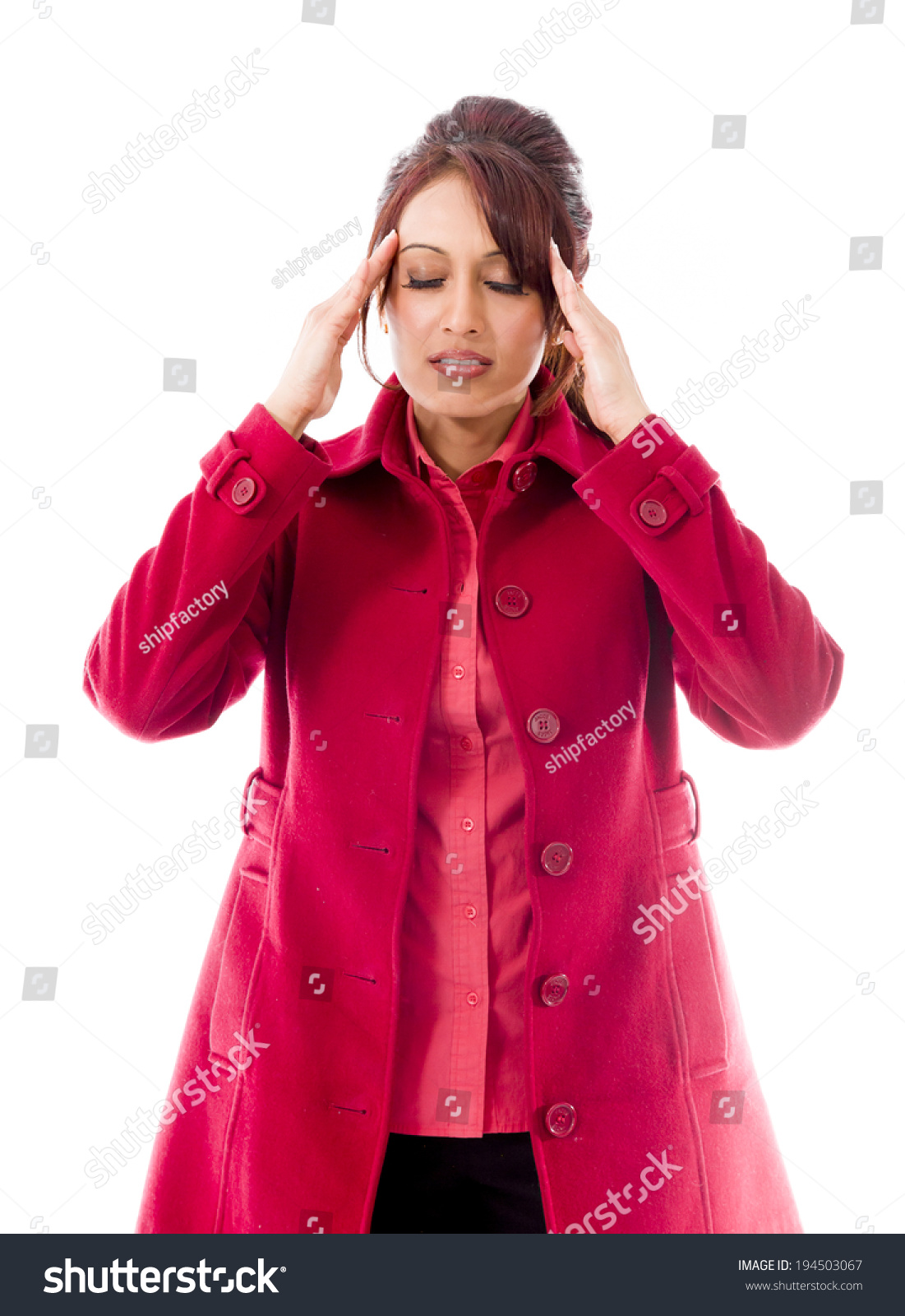 indian young woman touching her head stock photo edit now