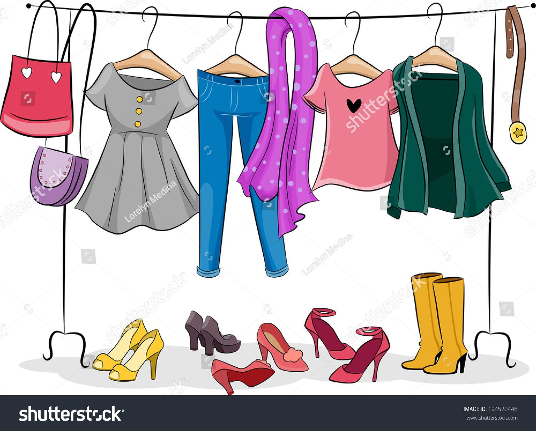 Illustration featuring a clothing rack full of female - Imagenes con animacion ...