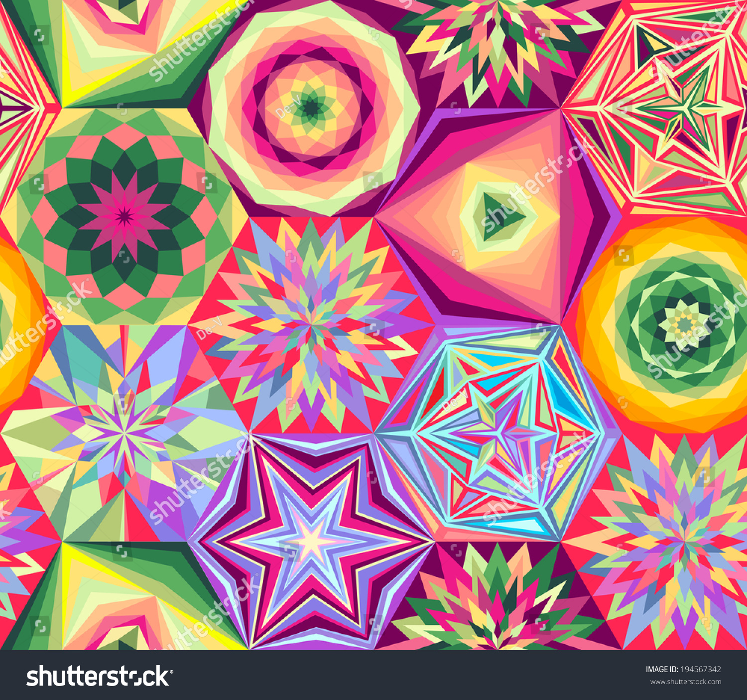 Abstract Colorful Vintage Geometric Wallpaper Pattern