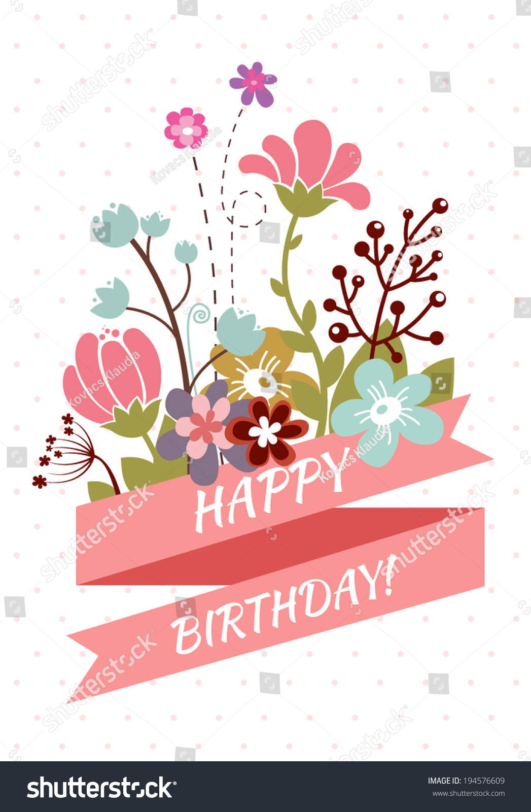 Happy Birthday Greeting Card Beautiful Vintage Stock Vector Royalty Free 194576609