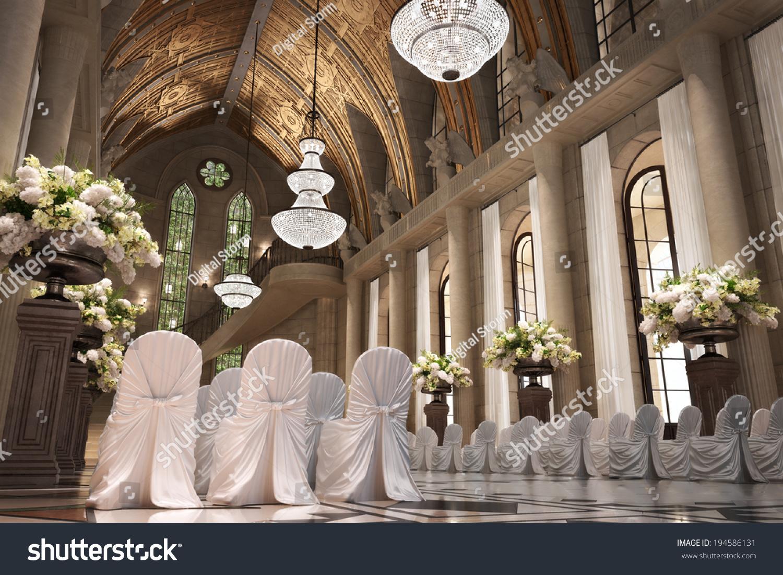 Church Cathedral Wedding Interior Rows Elegant Royalty